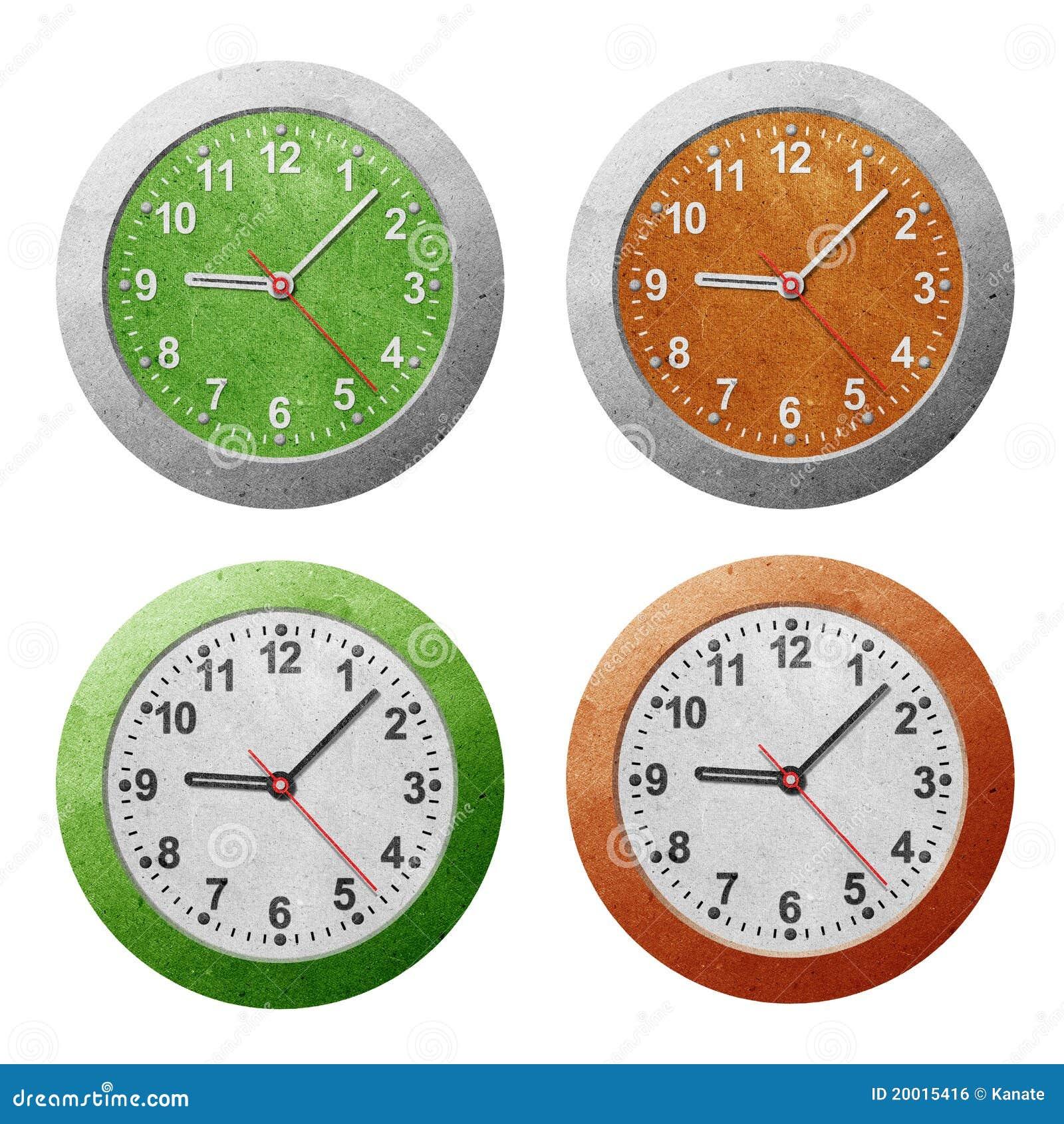 Mestiere Di Carta Riciclato Orologio Illustrazione Di Stock