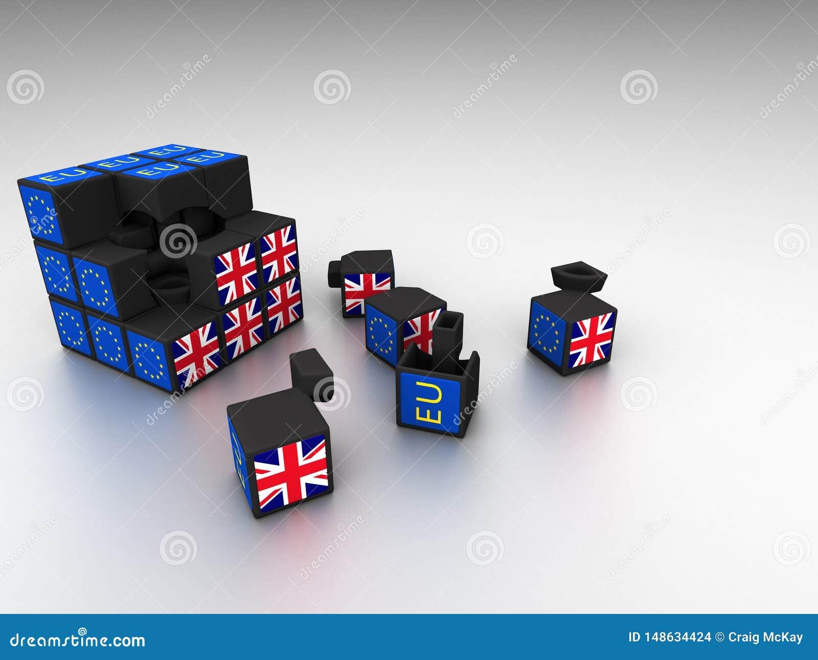 Metáfora do cubo de Brexit para o fiasco de Brexit