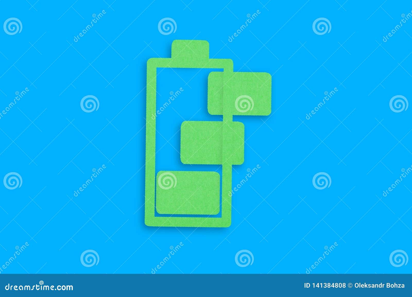Met de hand gemaakt document pictogram van het belasten van batterij met groene cellen in centrum van blauwe lijst Hoogste mening