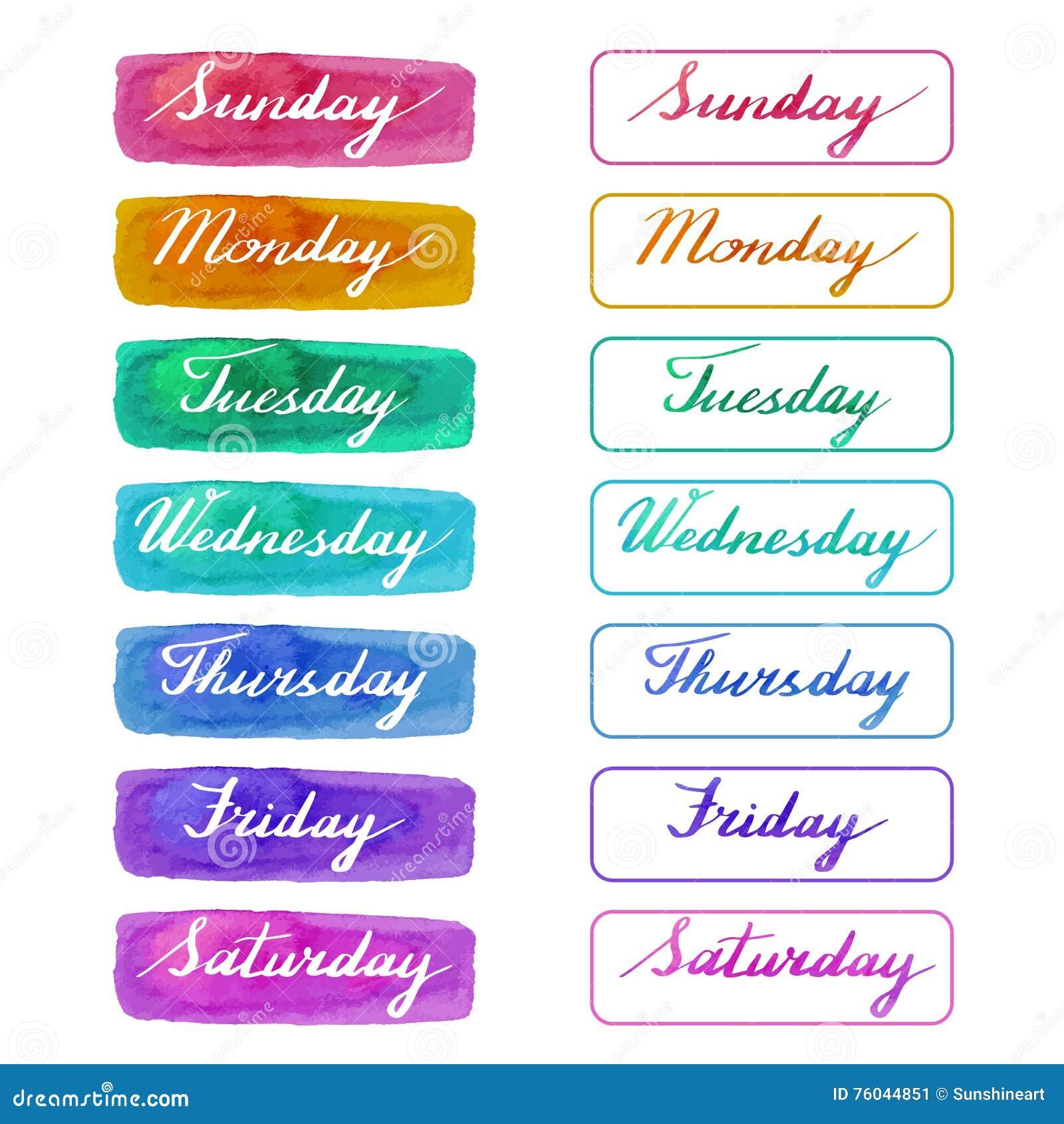 Met de hand geschreven dagen van de week