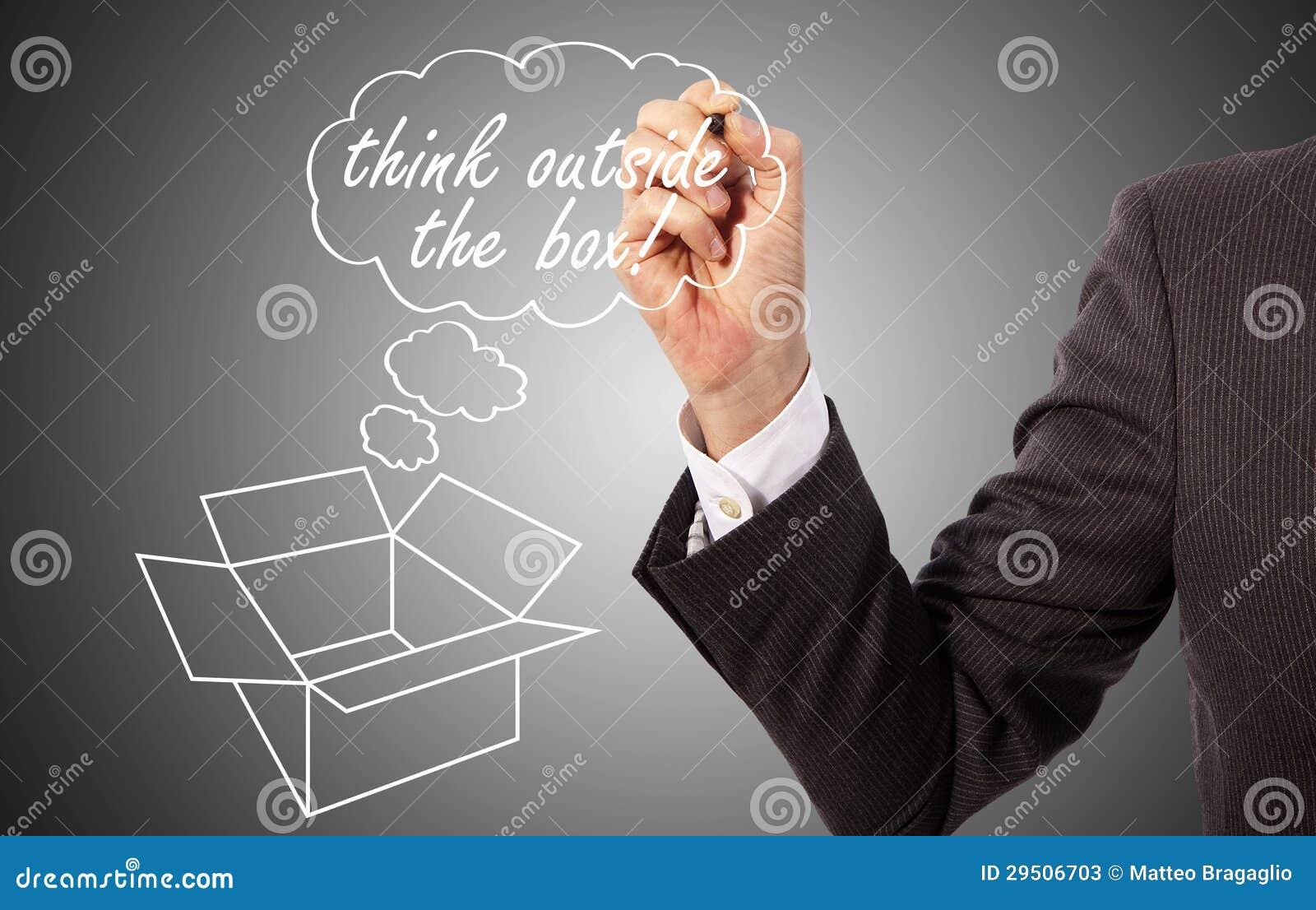 Met de hand geschreven denk buiten de doos