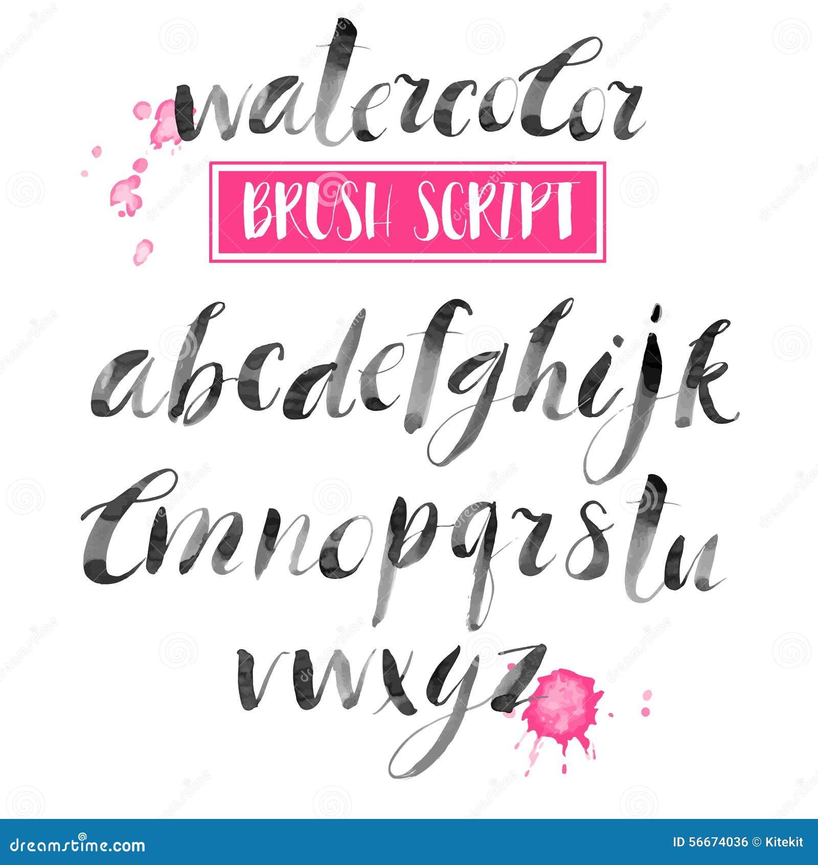 Met de hand geschreven waterverf kalligrafische doopvont Het moderne borstel van letters voorzien