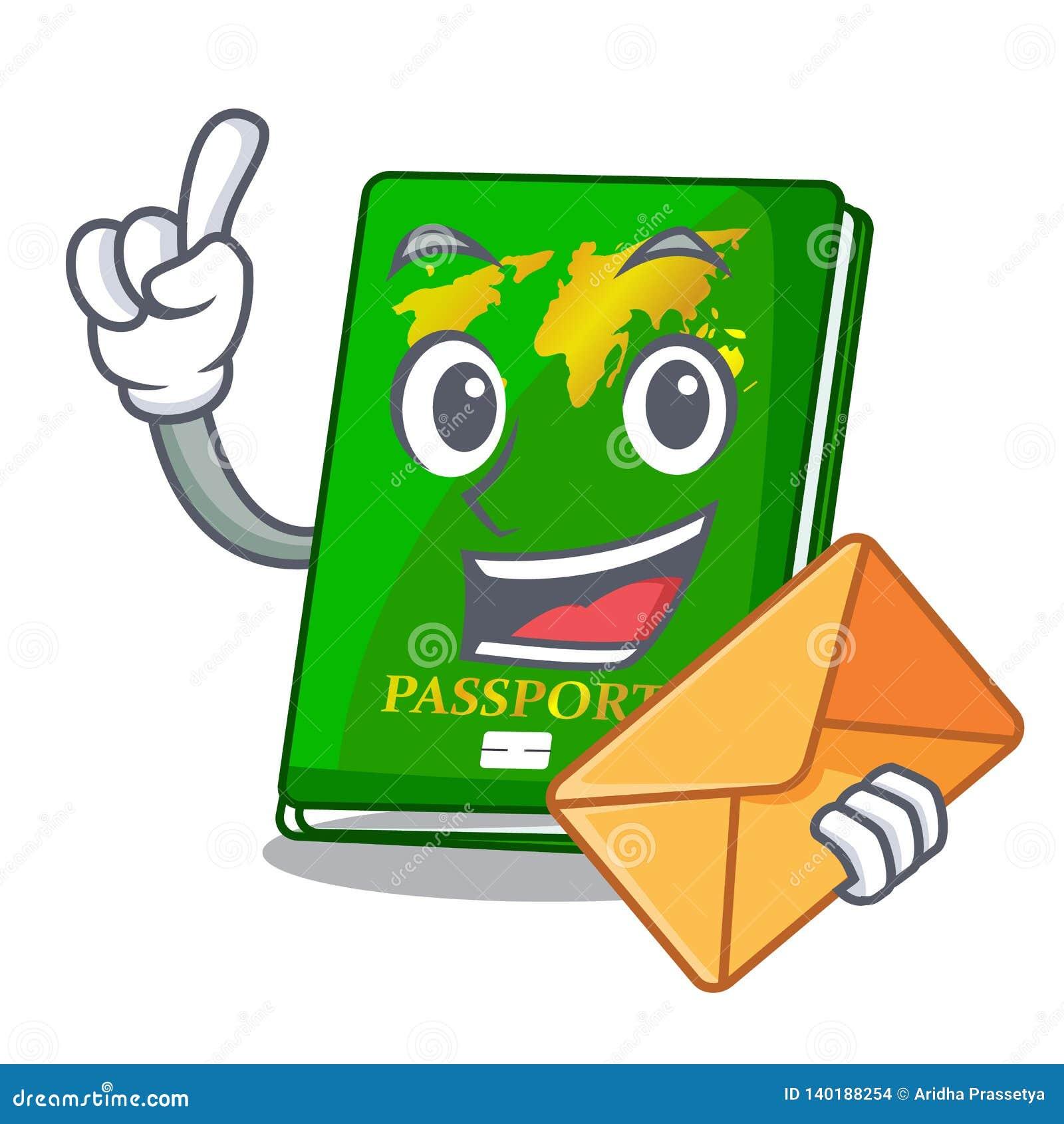 Met envelop groen paspoort in de beeldverhaalvorm