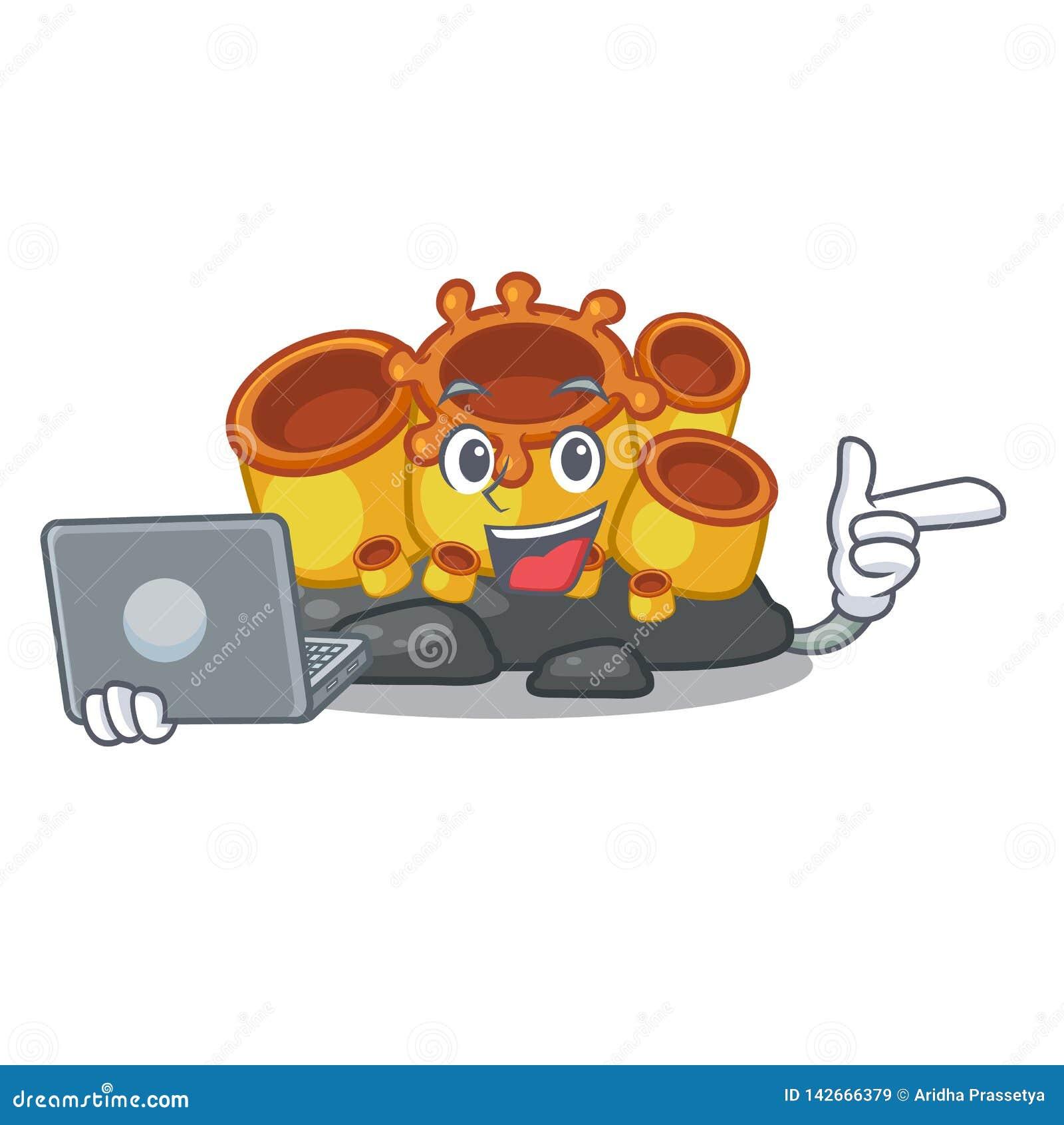 Met laptop miniatuur oranje sponskoraal in karakter