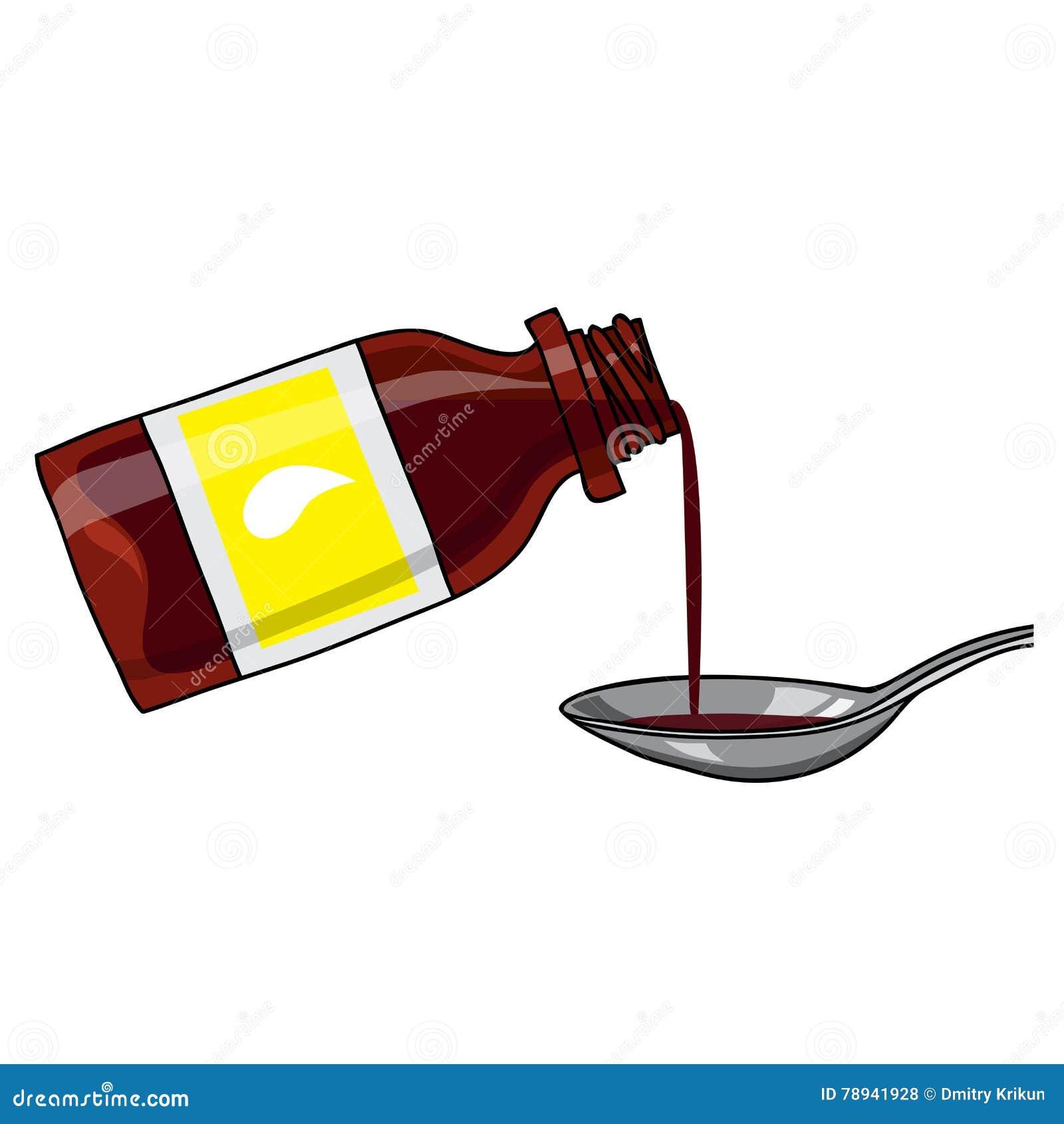 Met medicijnen behandelde stroop, hoeststroop/bruine kleurenfles met vloeistof en een lepel Fles met etiket De stijl van het beel