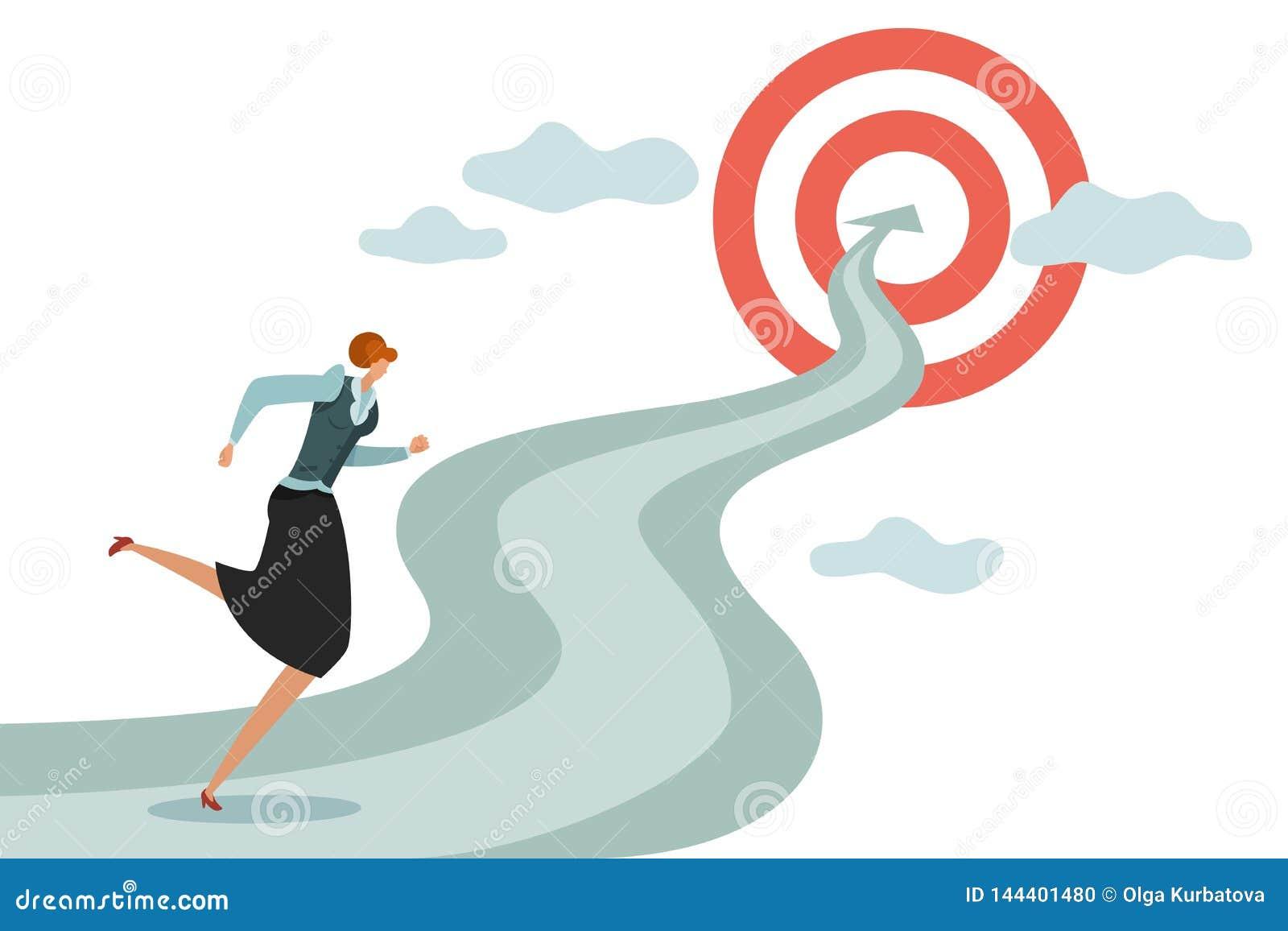 Meta de la mujer Funcionamiento femenino joven del negocio a la carrera acertada y a las nuevas metas, vector de salto de las dif