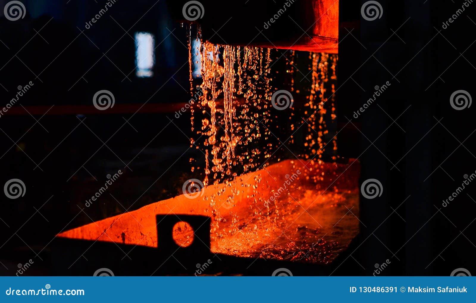 Metaal bij het gieten metallurgie Staalfabricageinstallatie en staal producerende workshop