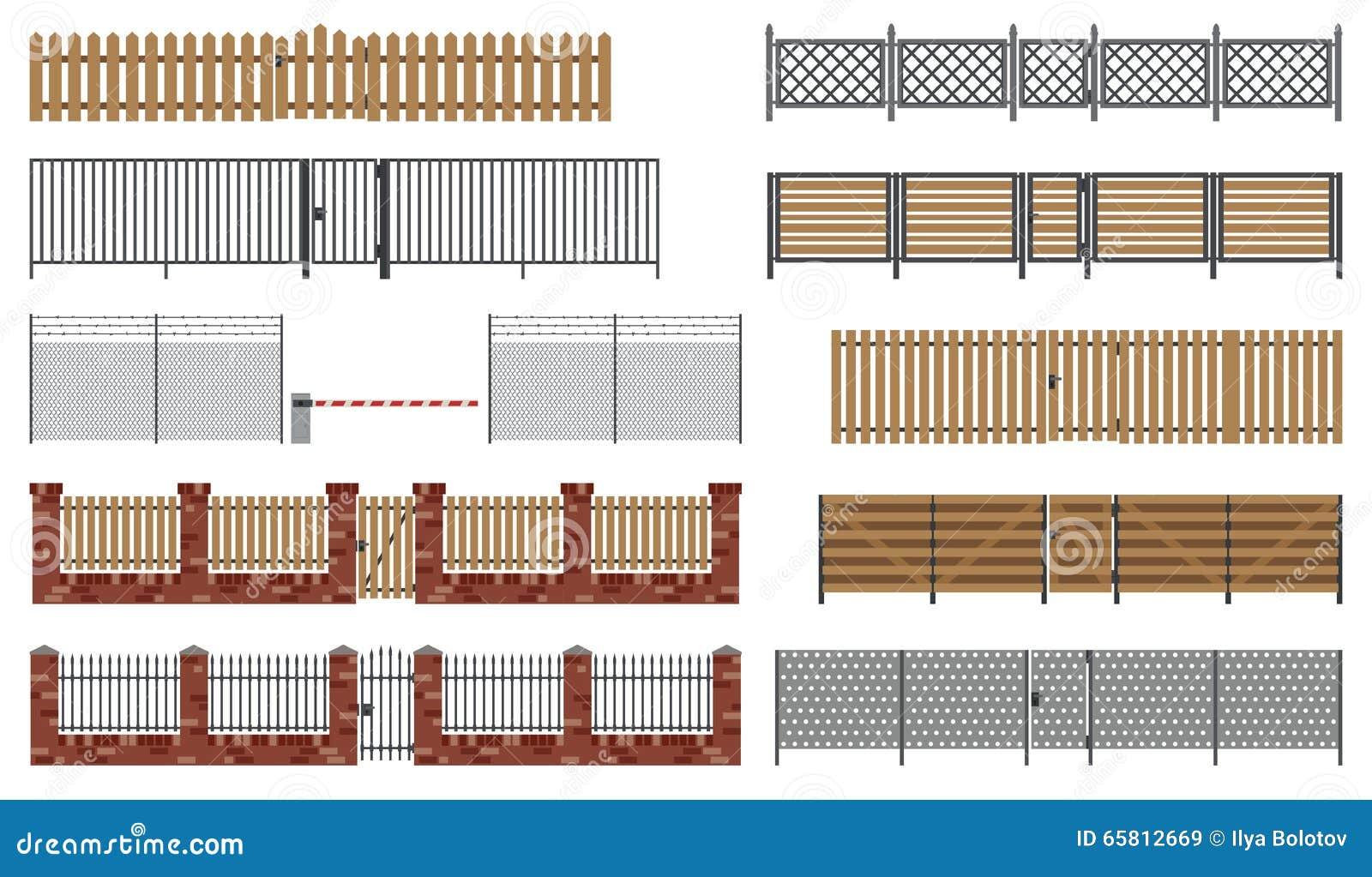 Metaal en houten omheiningen en poorten vector illustratie for Cerco illustratore