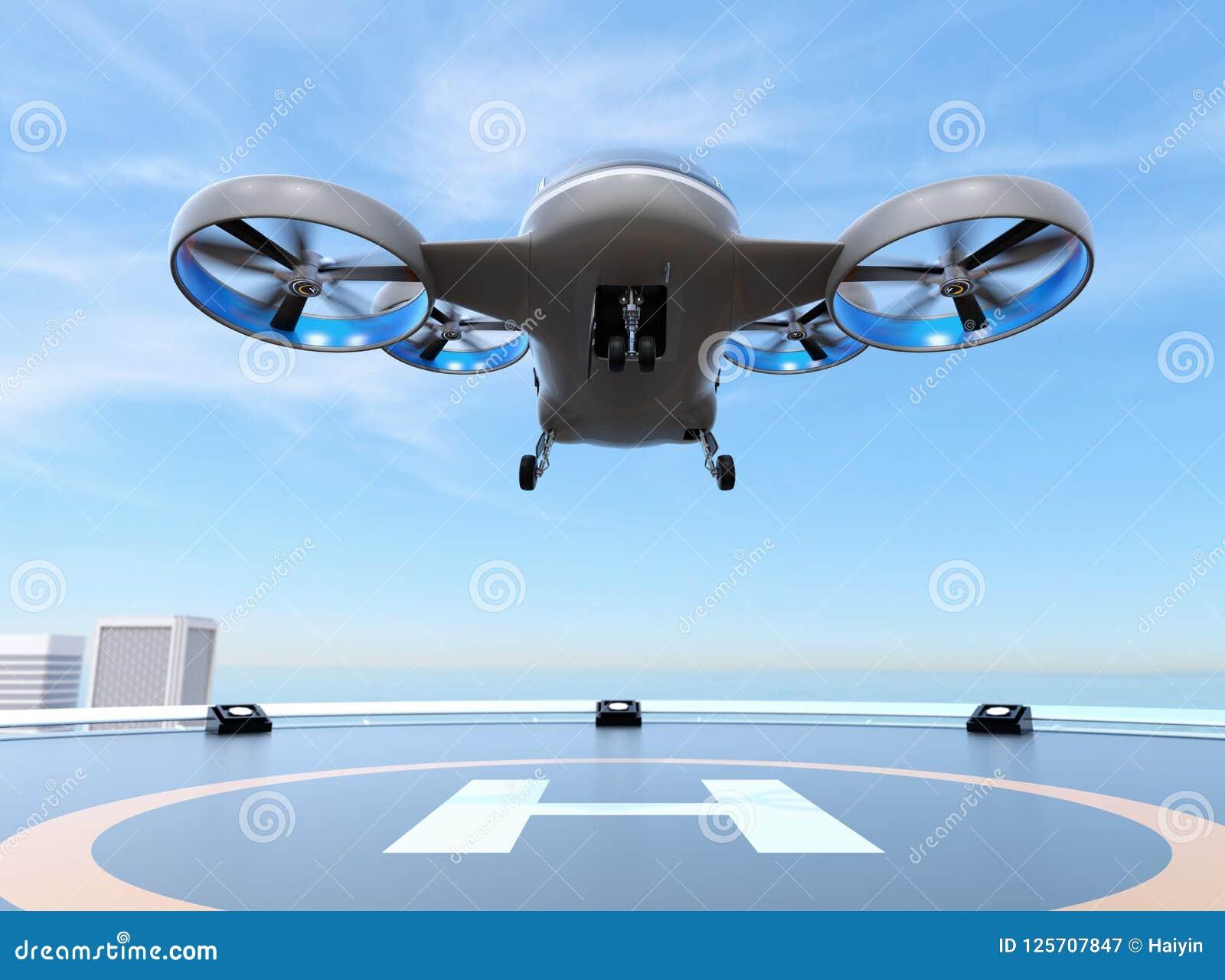 Metaal grijze de Taxistart van de Passagiershommel van helihaven op het dak van een wolkenkrabber