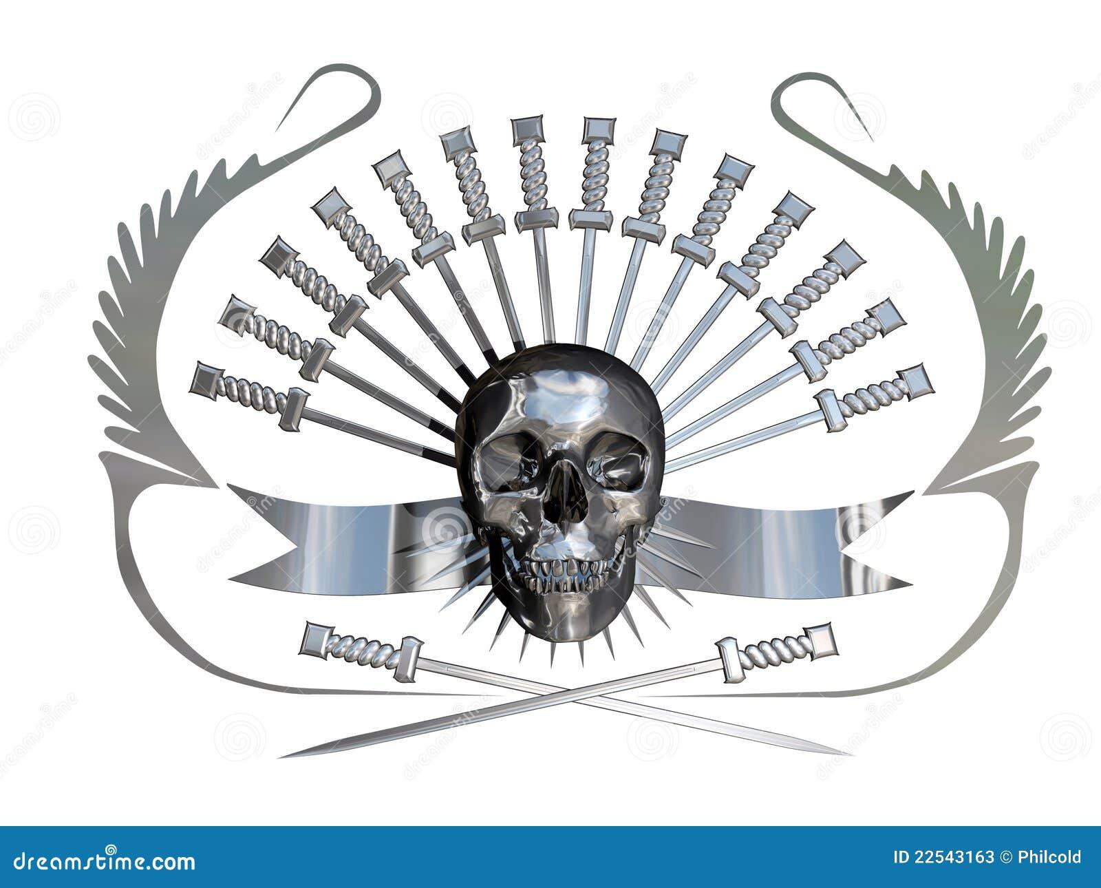 Metaal schedel en dolken