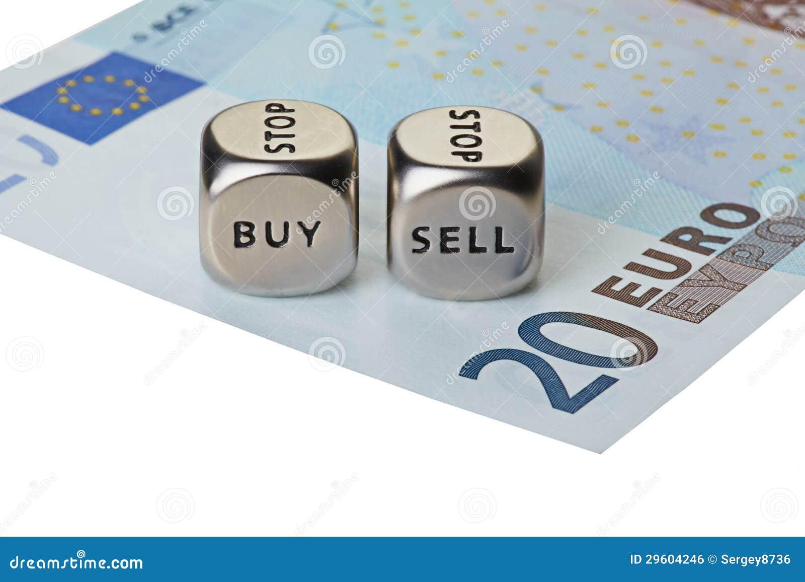 Metaal twee dobbelt met woorden koopt en verkoopt op twintig-euro bankbiljet