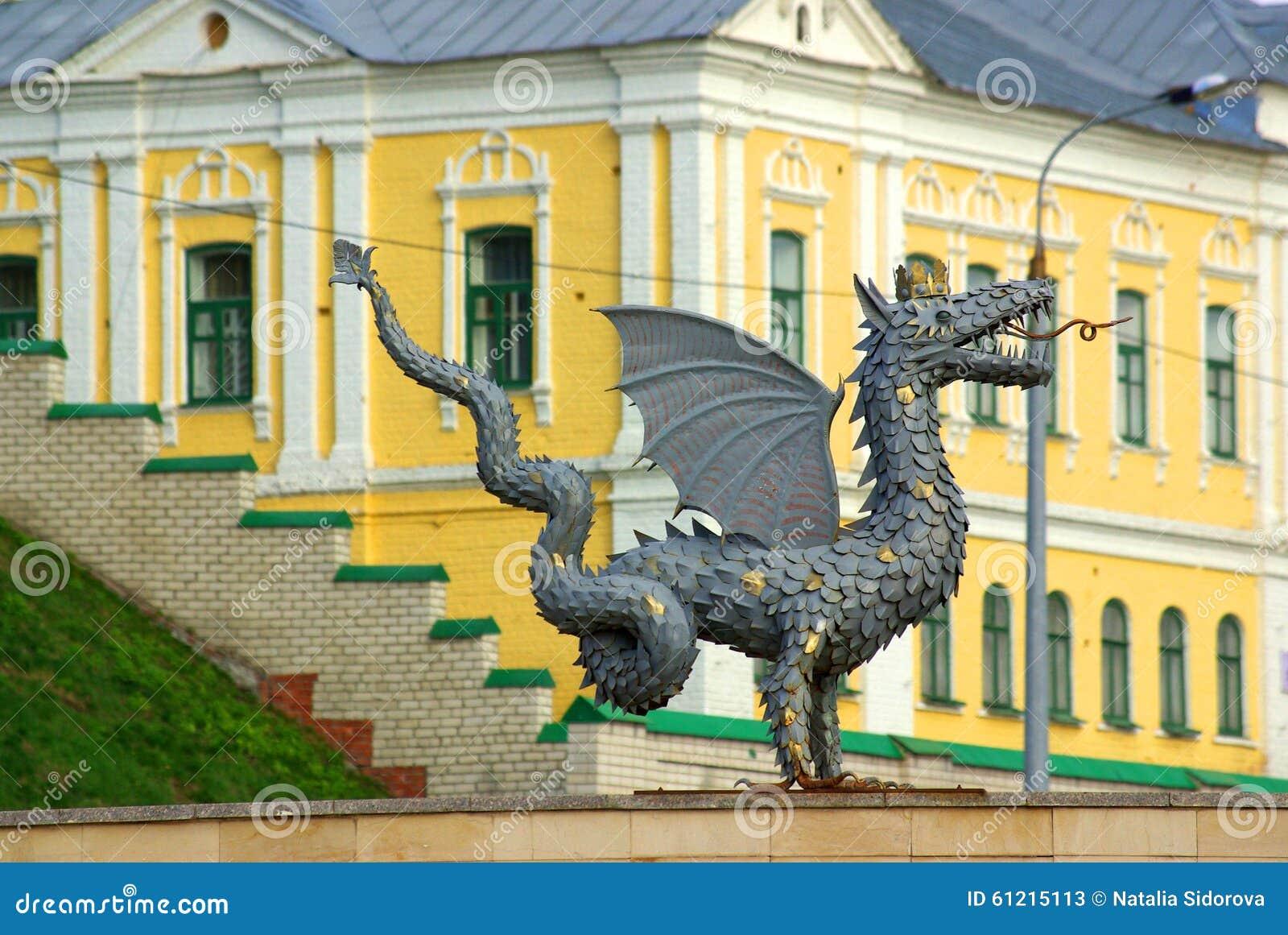 Metaalbeeldhouwwerk van Zilant, het officiële symbool van Kazan