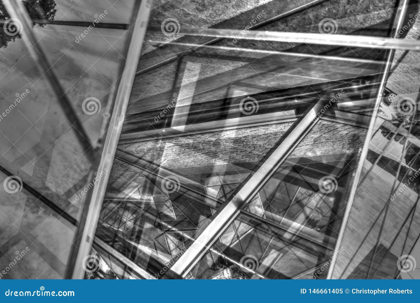 Metaalmetaal en Glas Abstracte Ontwerpen
