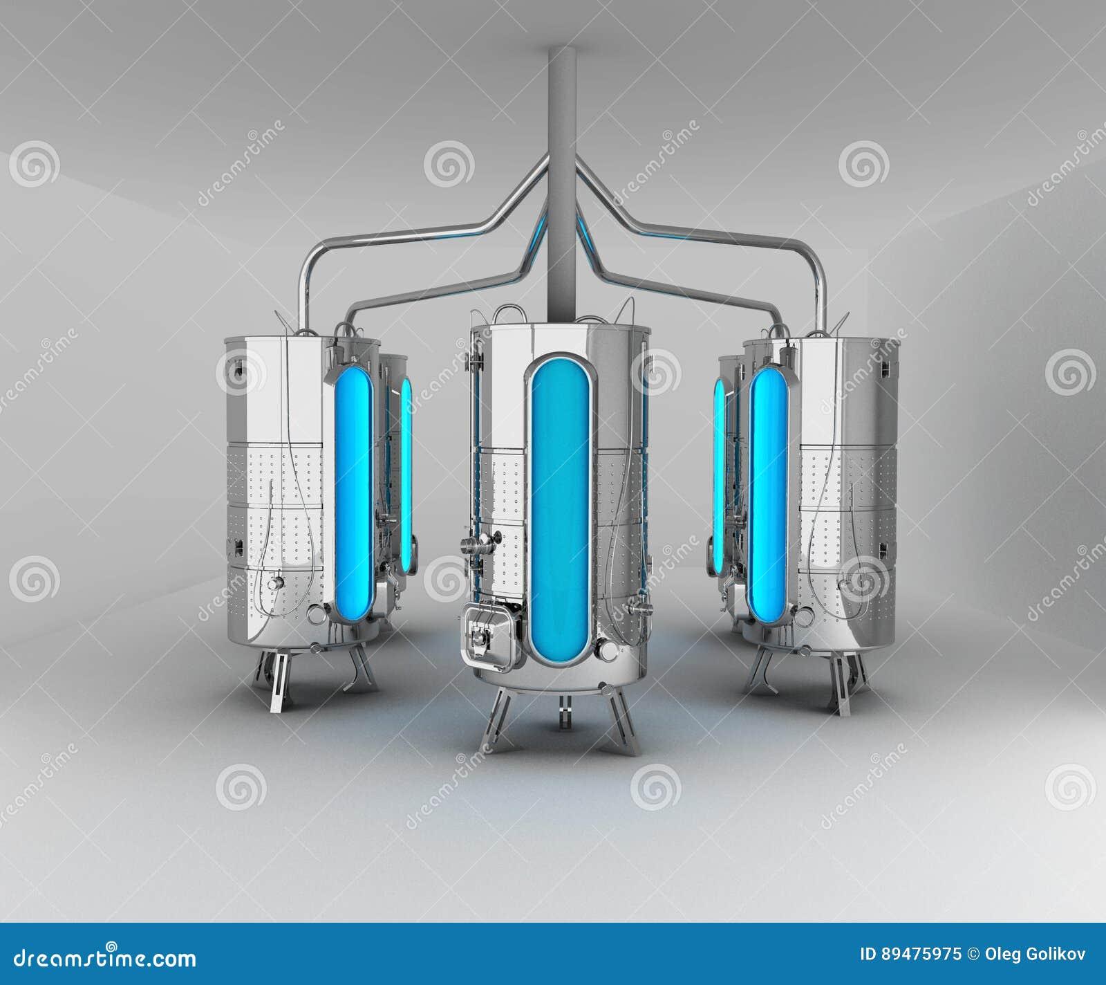 Metaalvat voor industriële doeleinden Capaciteit voor productie en opslag 3d illustratie