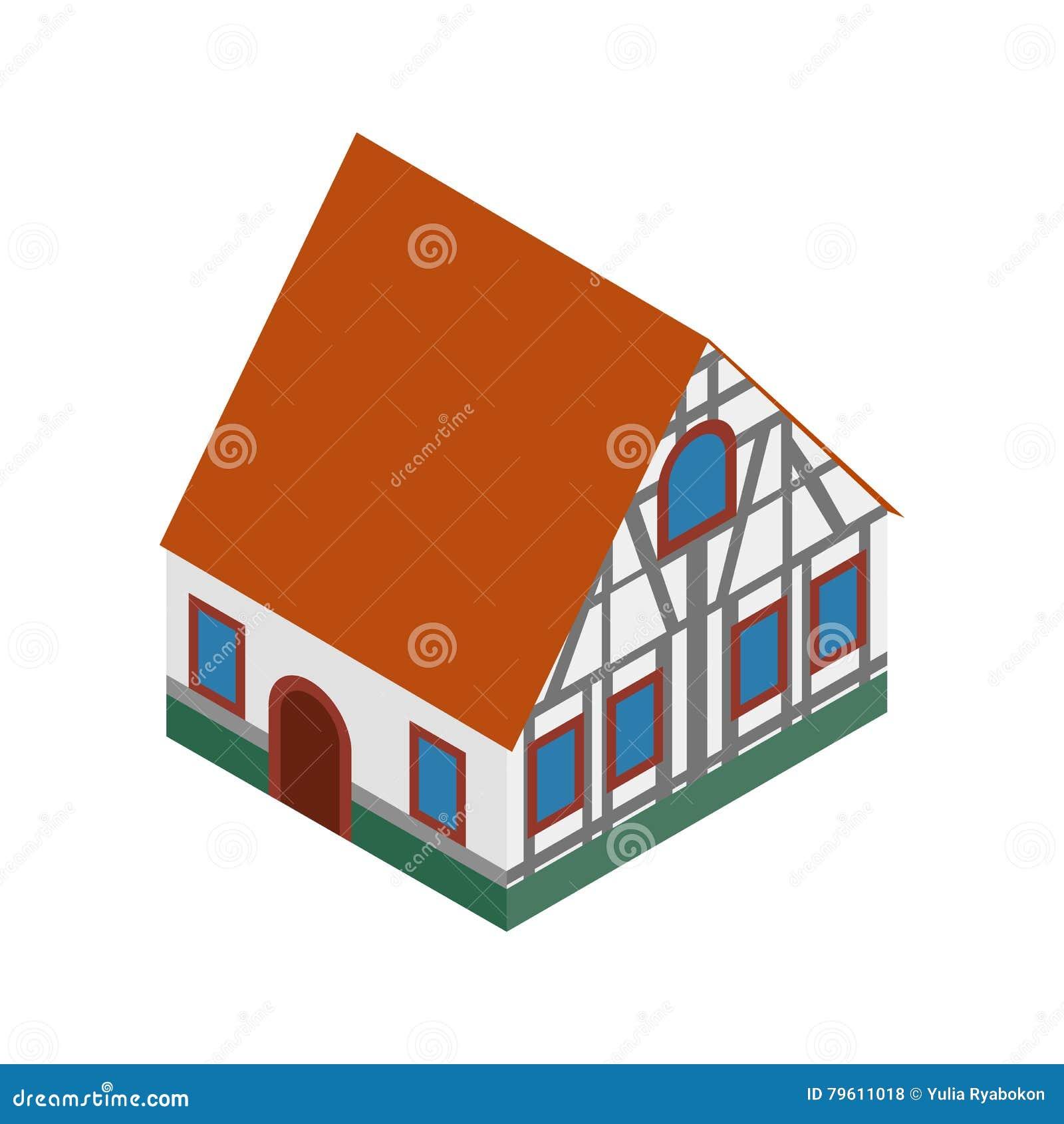 A metade suportou a casa no ícone 3d isométrico de Alemanha
