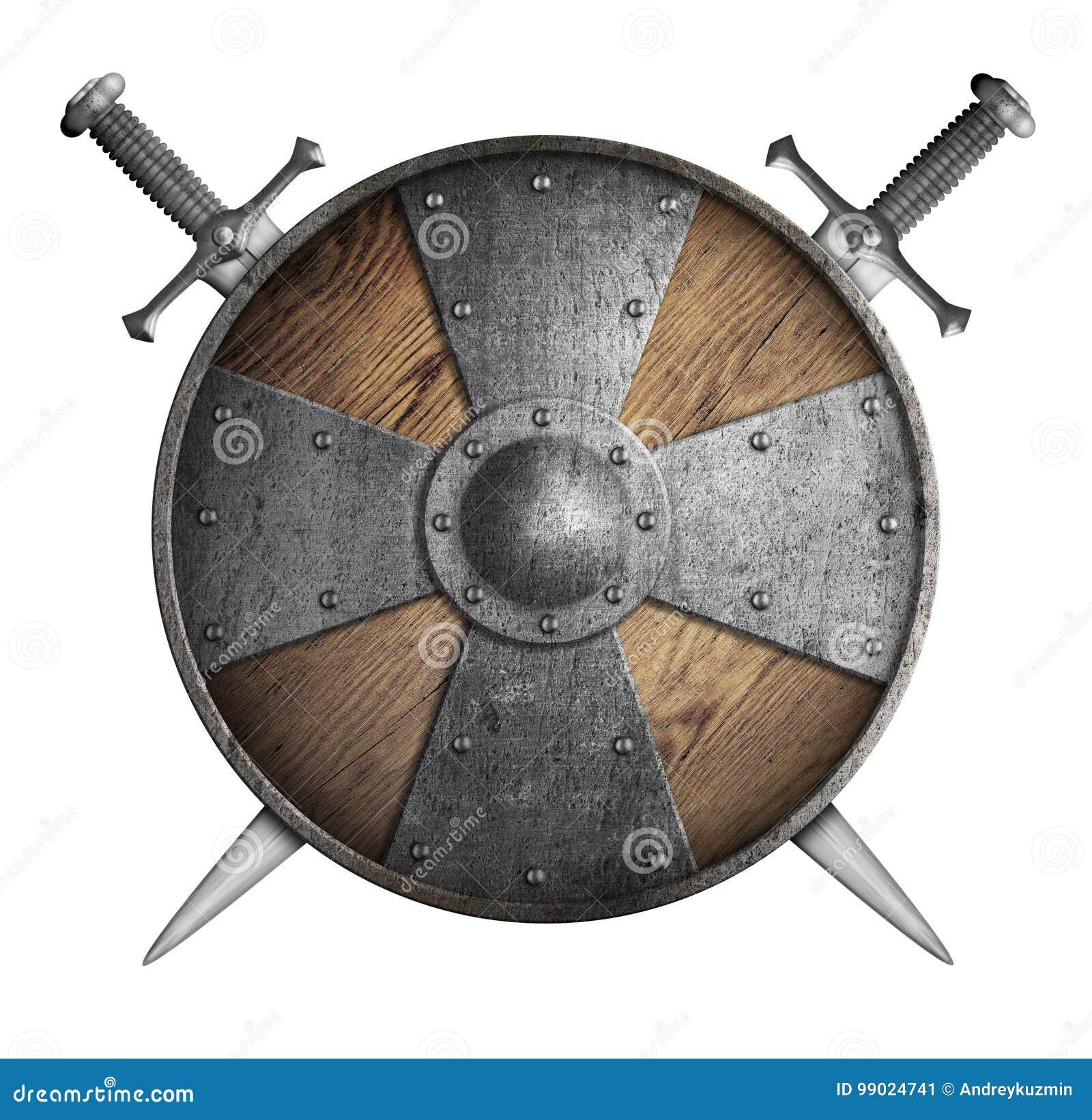 Metal изолированная иллюстрация экрана крестоносцев 2 пересеченная шпаг 3d и