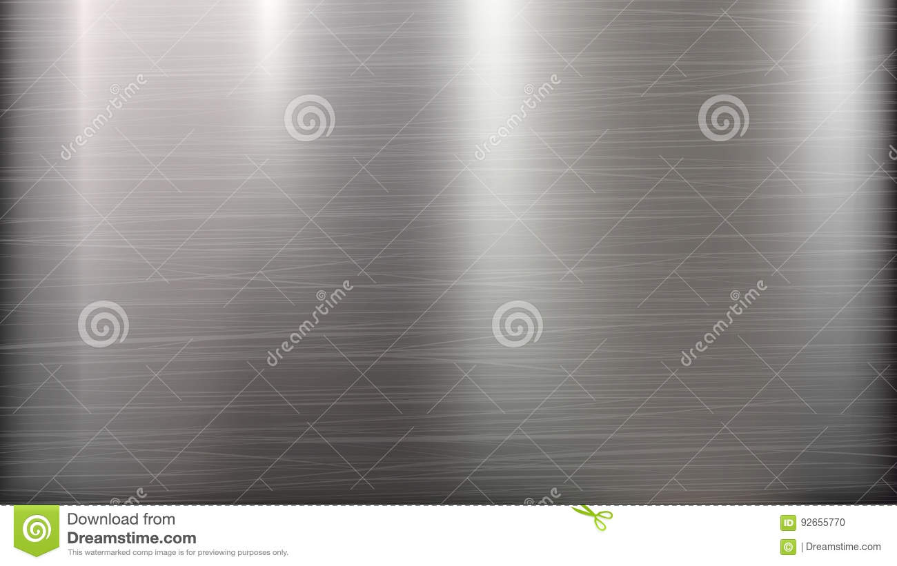 Metal Abstract Technology Background. Polished, Brushed Texture. Chrome, Silver, Steel, Aluminum. Vector illustration.