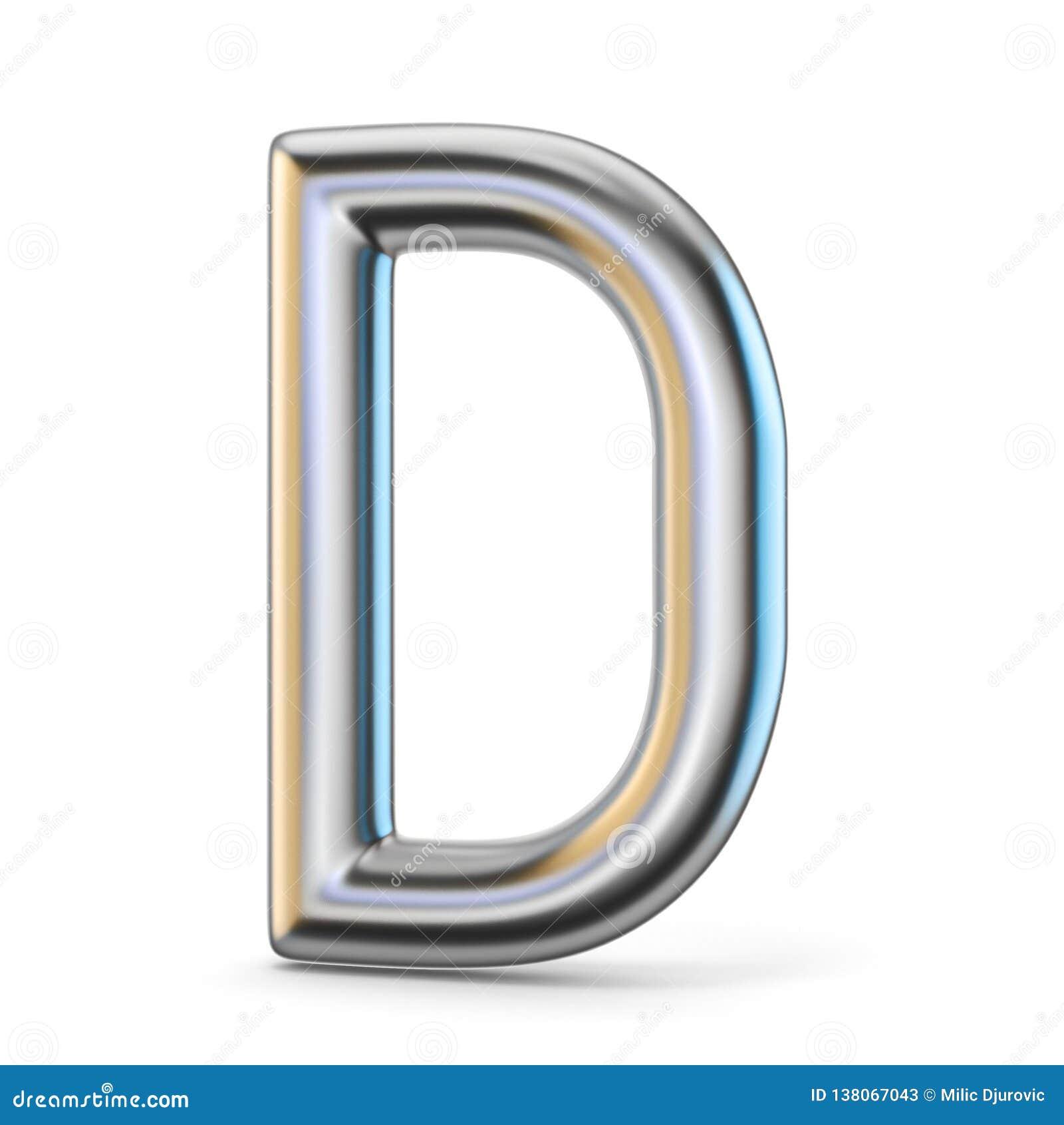 Metal alphabet symbol. Letter D 3D