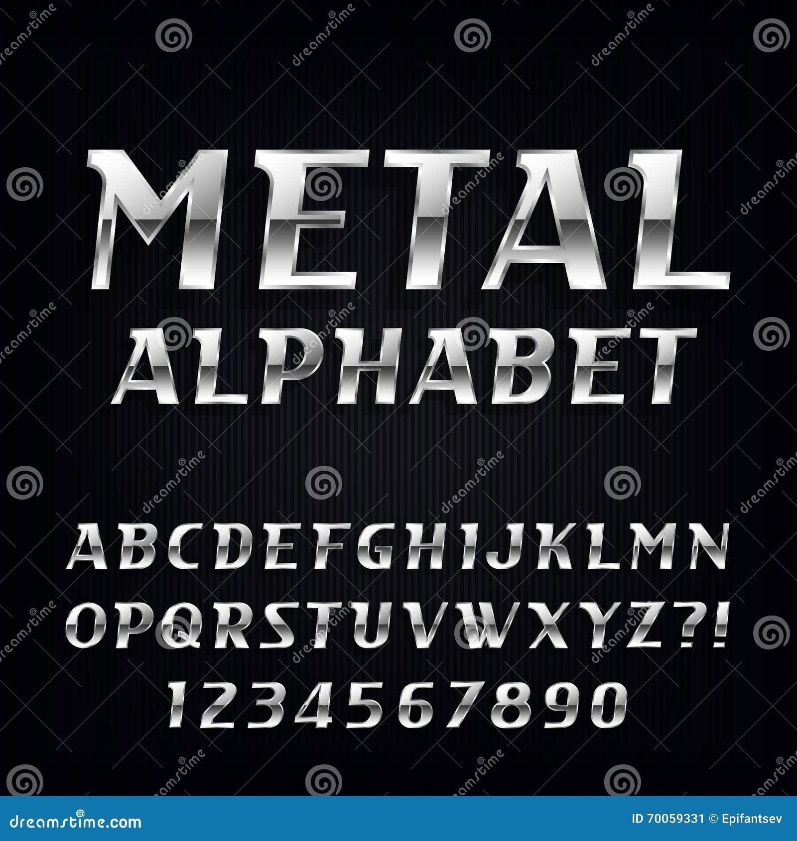 Metal Alphabet Vector Font. Oblique Chrome Letters And