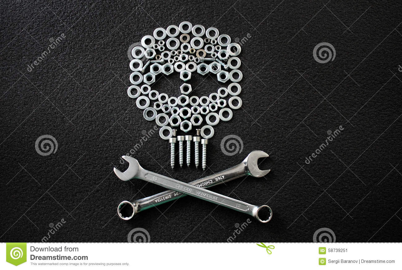 metal art skull made by nuts washers and bolts stock photo