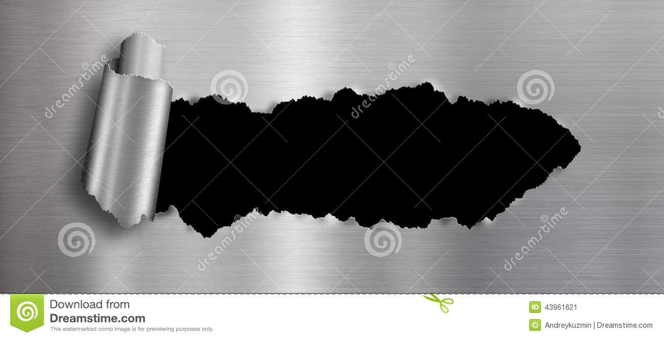 Metal Background With Isolated Black Ripped Hole Stock