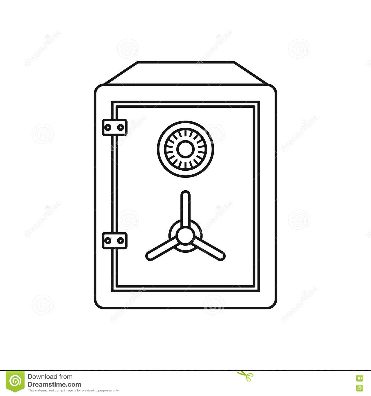 Bank Protection Drawing : Metal bank safe icon outline style stock vector image