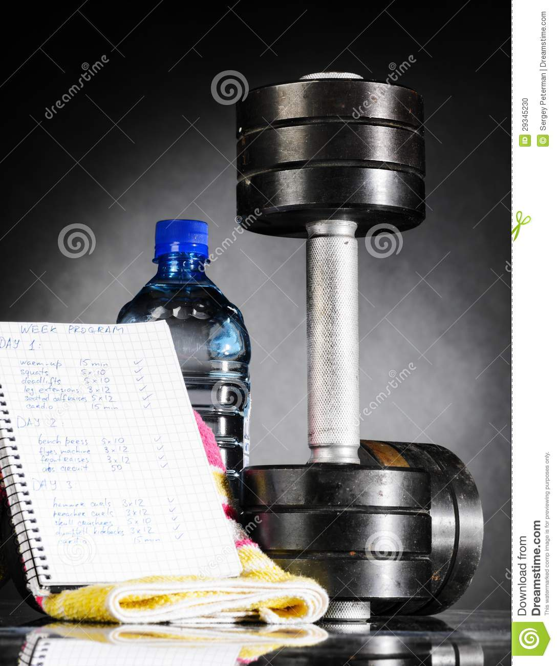 Emerging Ideas In Deciding On Elements In Bodybuilding: Metal Barbell With Week Program Stock Photo