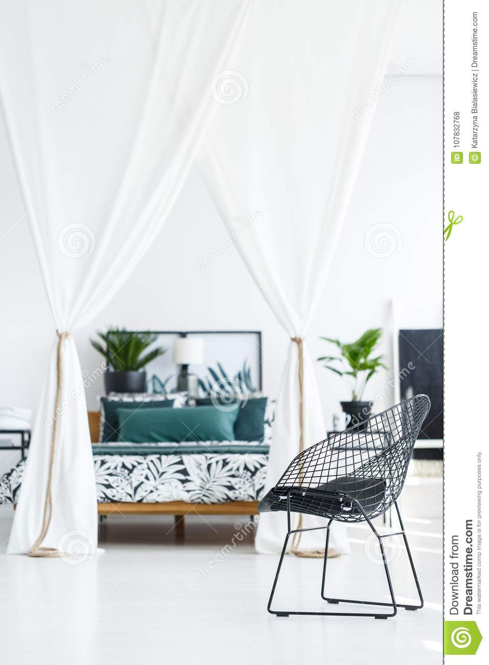 Metal Black Chair In Bedroom Stock Photo - Image of colonial ...
