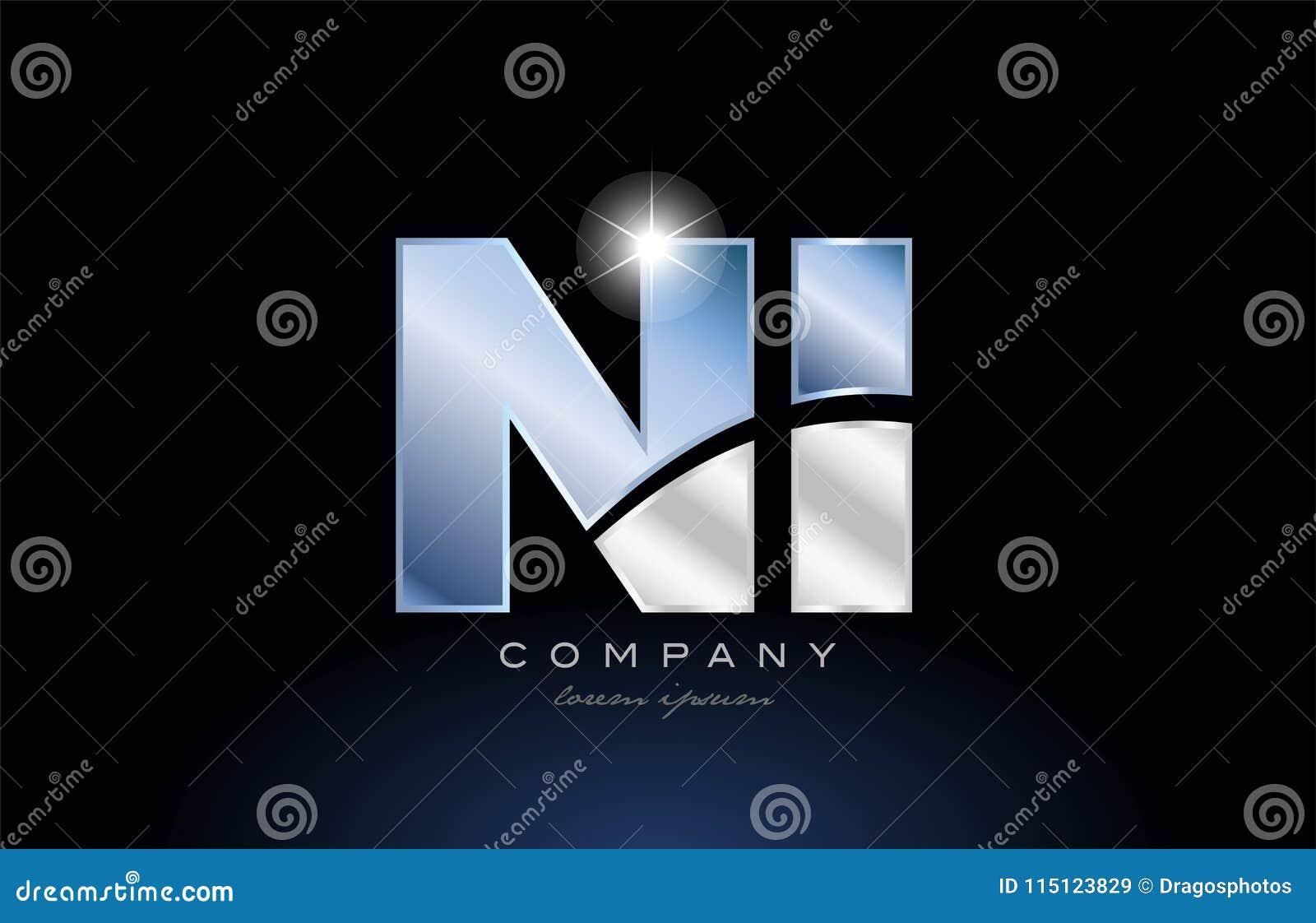 metal blue alphabet letter ni n i logo company icon design