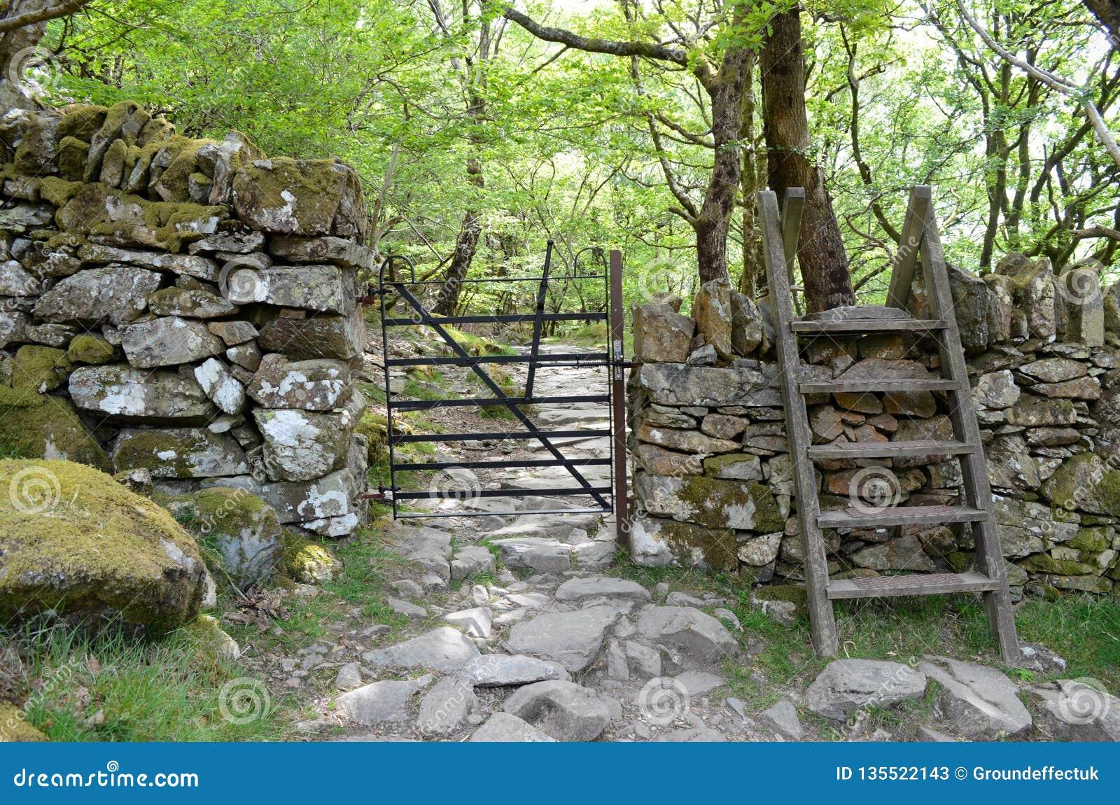 Metal brama przez ściany i przełazu nad nim, prowadzenie w skalistą ścieżkę przez lasu
