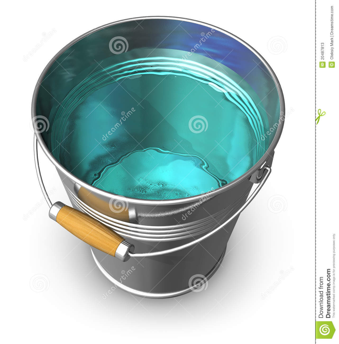 Metal Bucket Full Of Clear Water Stock Photos  Image: 20487813