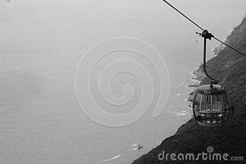 Download Metal Cable Car Going Up Grayscale Photo Stock Image - Image of cable, black: 82958721