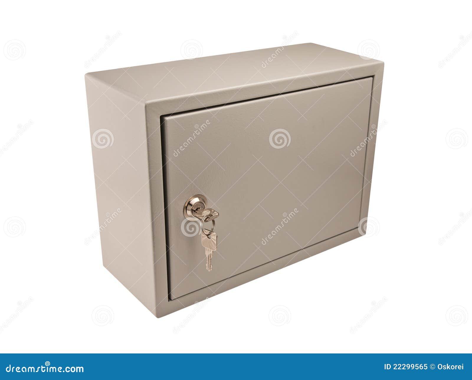 Metal A Caixa Cinzenta Com Porta Cadeado E Chaves Foto de Stock  #85A724 1300x1063