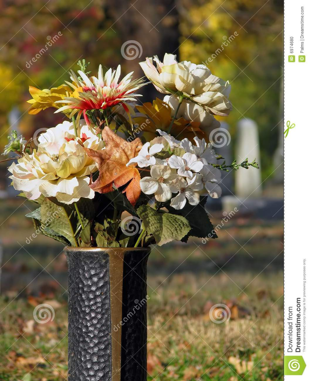 Metal Cemetery Vase Stock Photo Image 6974680