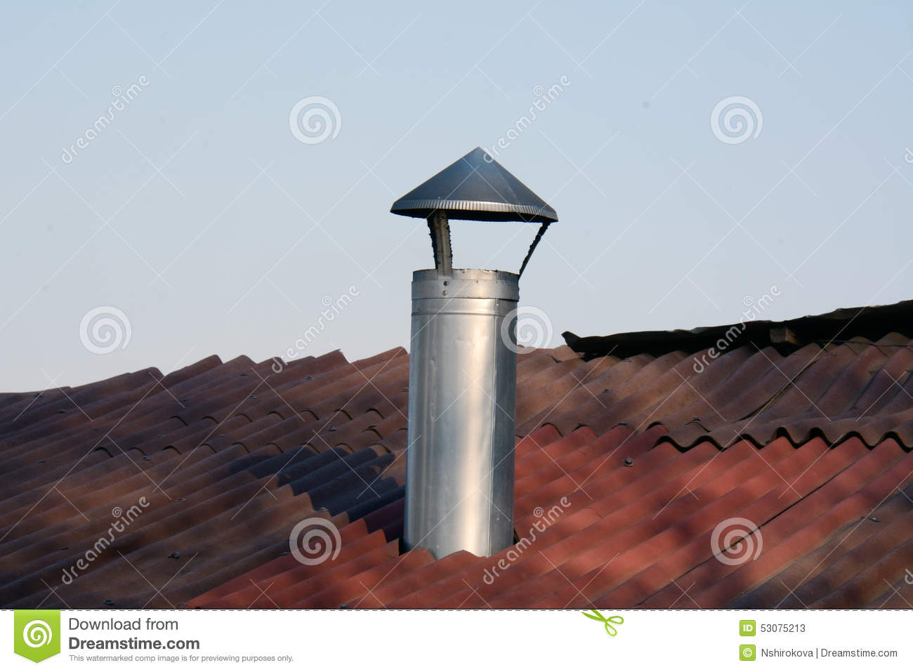 Metal Chimney And Part Of Roof Stock Image Image Of