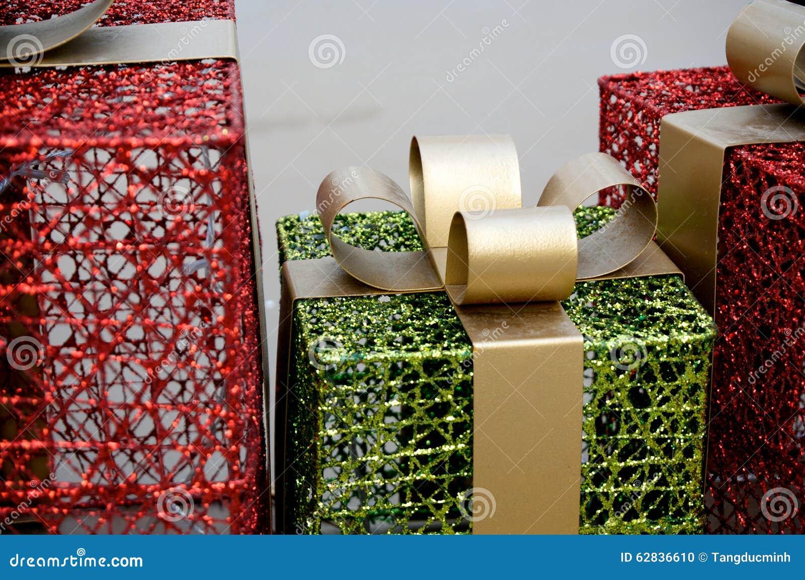 Metal christmas gift box decoration stock photo image