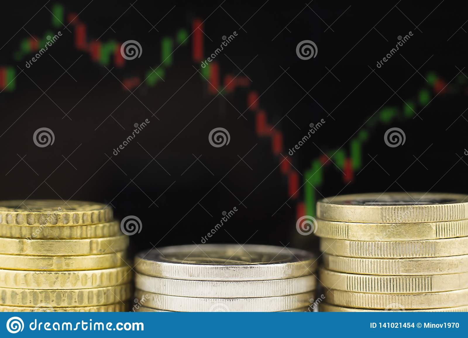 Metal coins against the background of the financial schedule