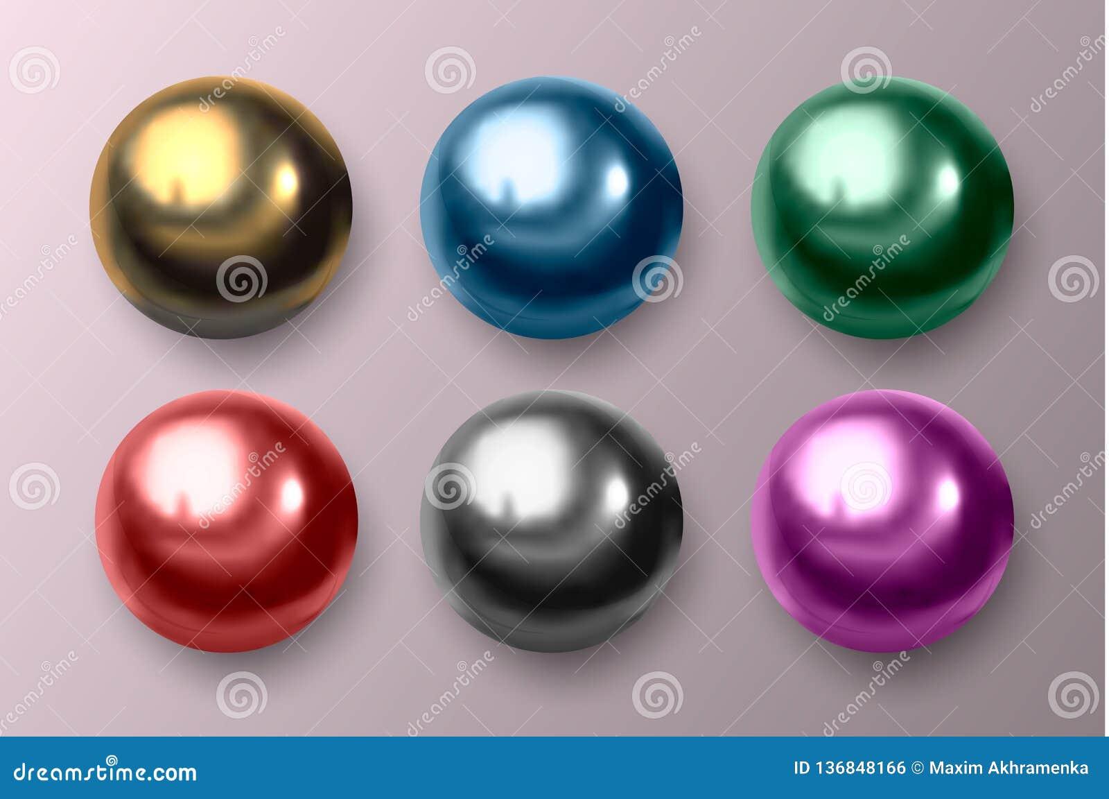 Metal colorido e bolas plásticas Ilustração do vetor