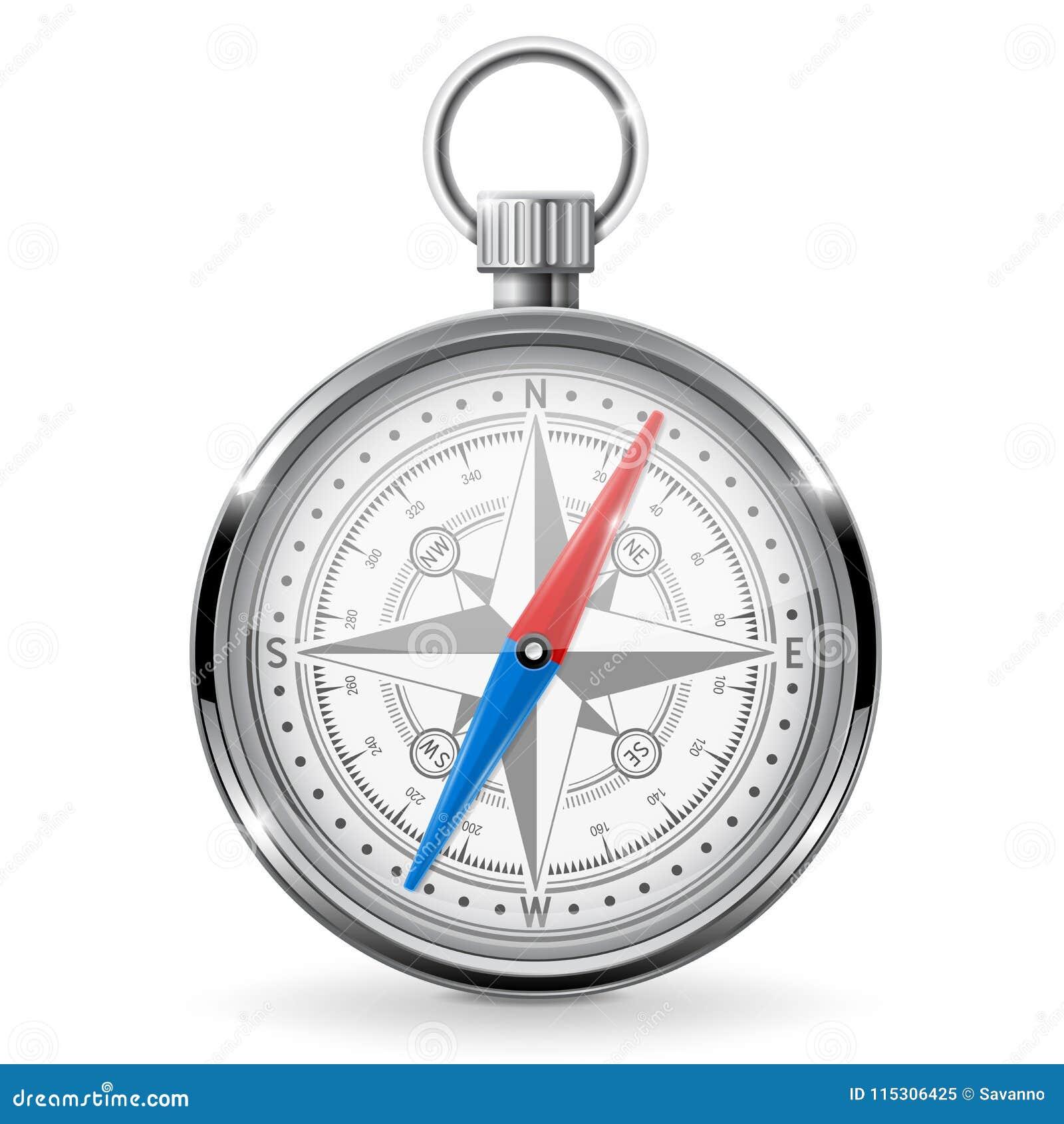 Metal compass. Navigation gauge