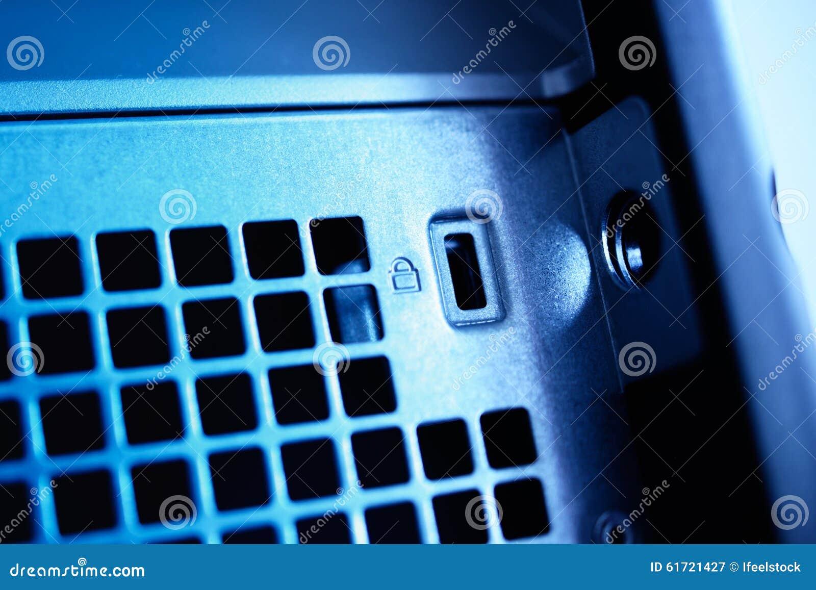 Metal computer lock on a blue server workstation