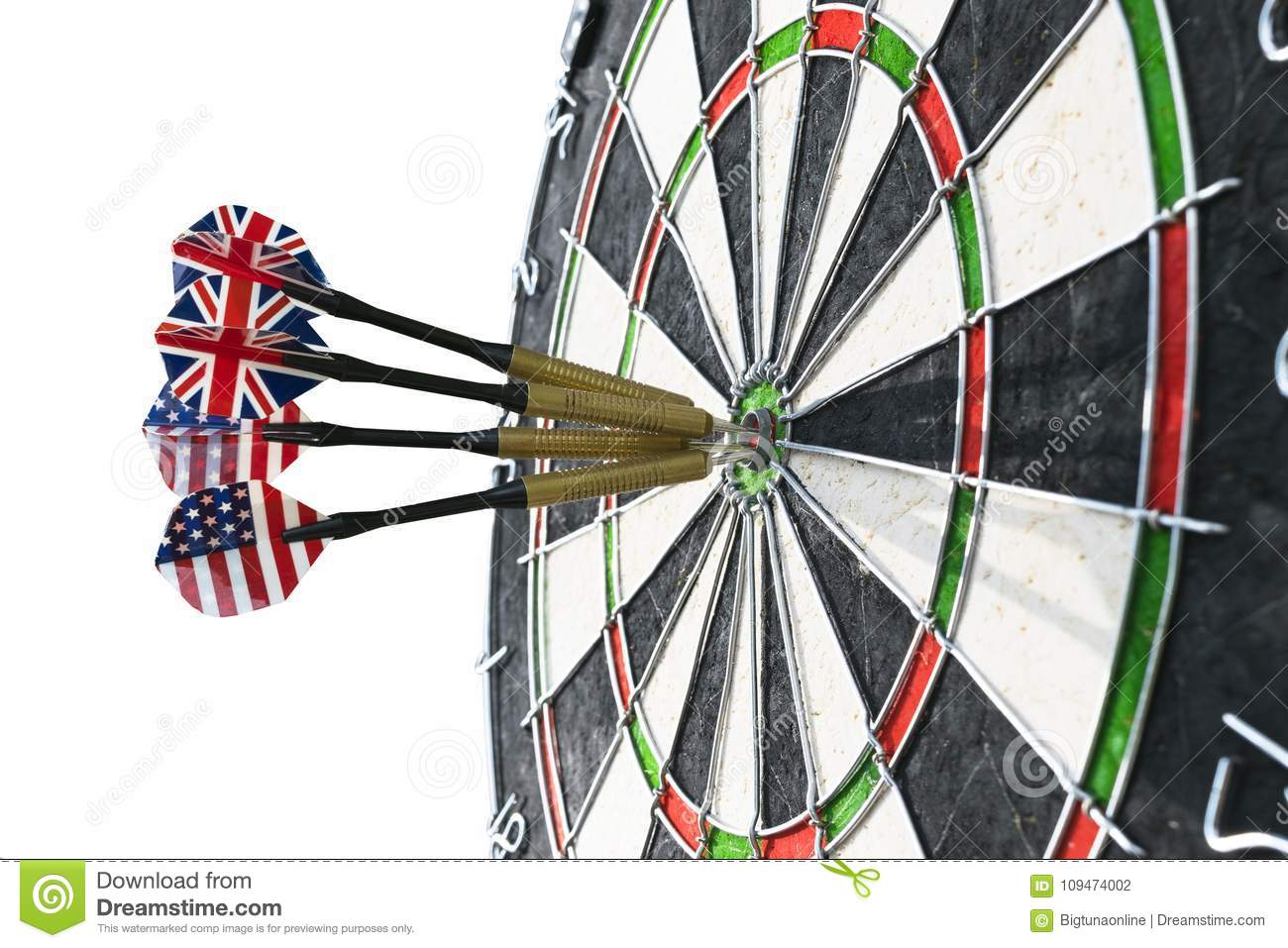 Metal Darts Have Hit The Red Bullseye On A Dart Board Darts Game