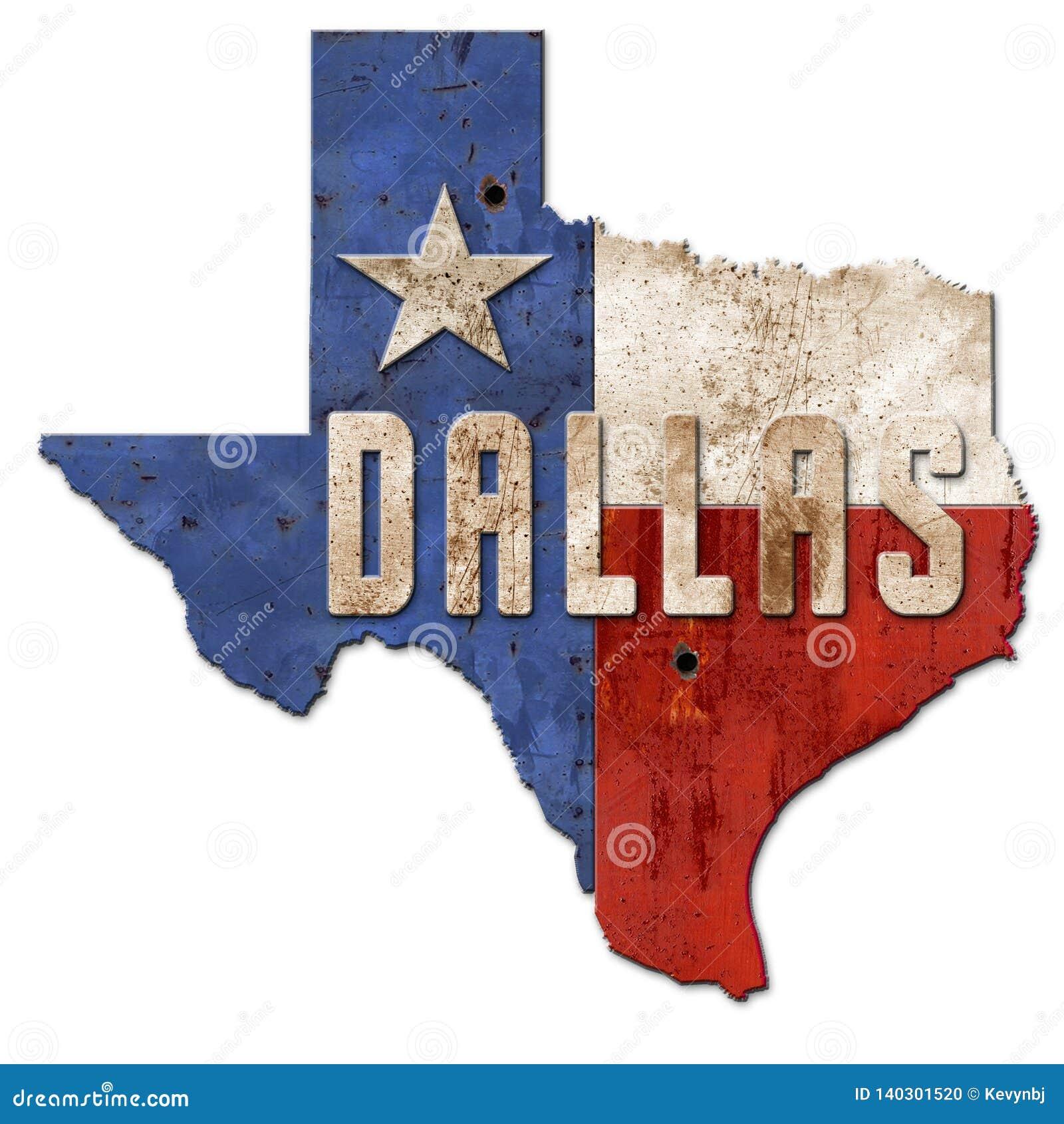 Metal de Dallas Sign Grunge Texas Flag Lone Star
