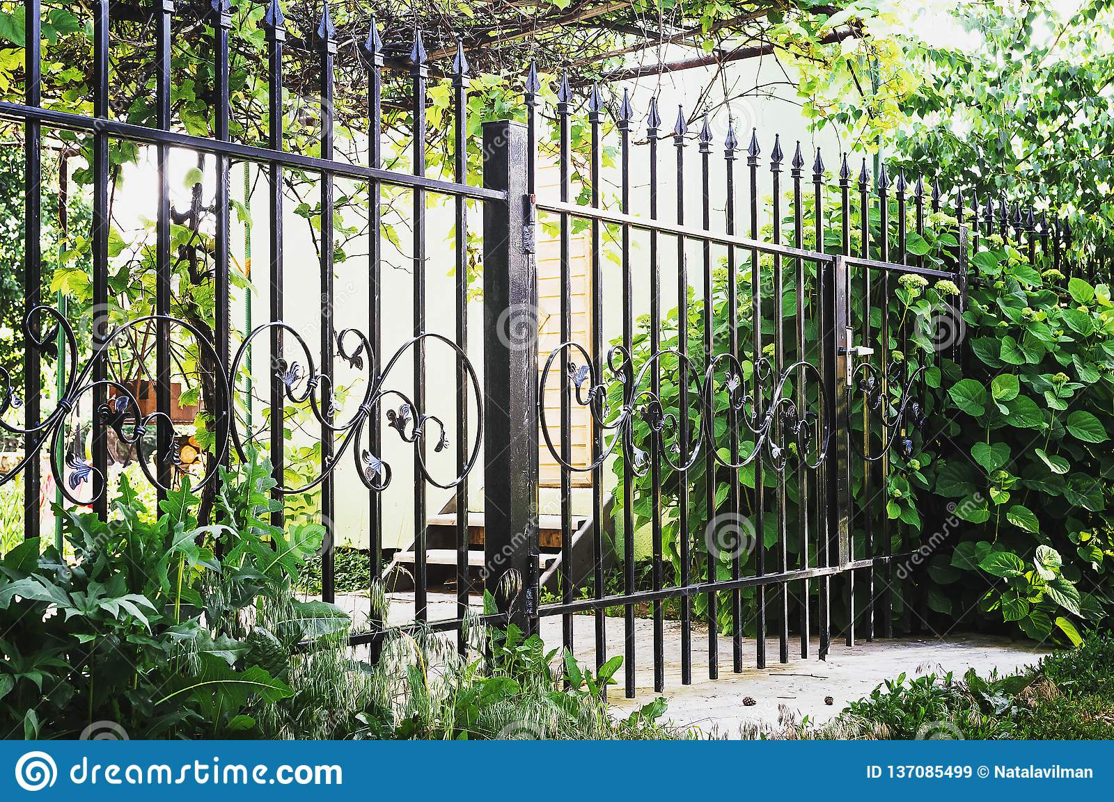 Metal Decorative Fence With Door And Gate Of Modern Style Design Metal Fence Ideas Stock Image Image Of Border Fence 137085499