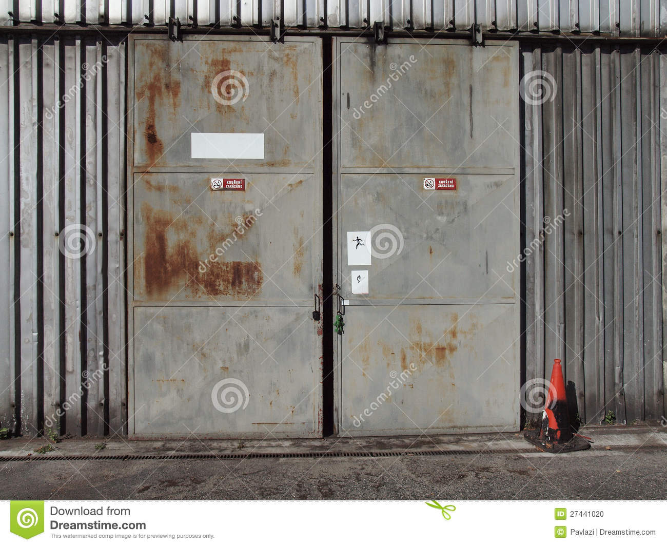 The Metal Door Of An Old Shed Stock Photo Image Of Ajar