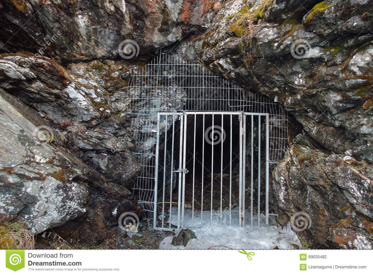 Download Metal Door In The Stone Cave Stock Photo   Image Of Mountains, Door :