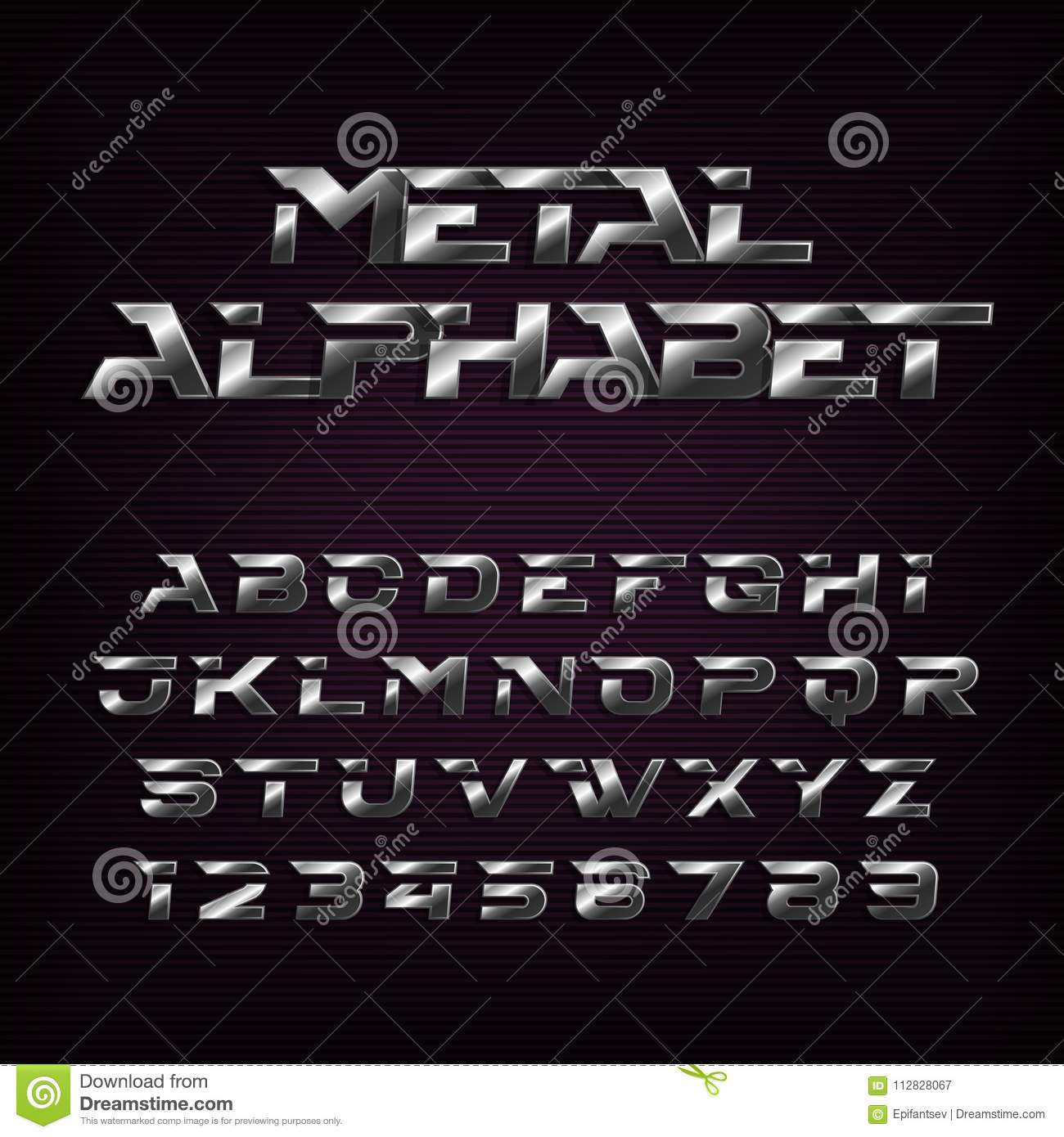 Silver Effect Letters Alphabet: Metal Effect Alphabet Font. Futuristic Steel Letters And
