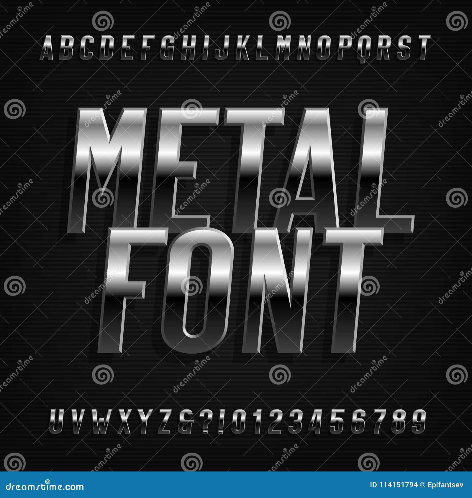 Metal effect alphabet font. Oblique chrome letters, numbers and symbols.