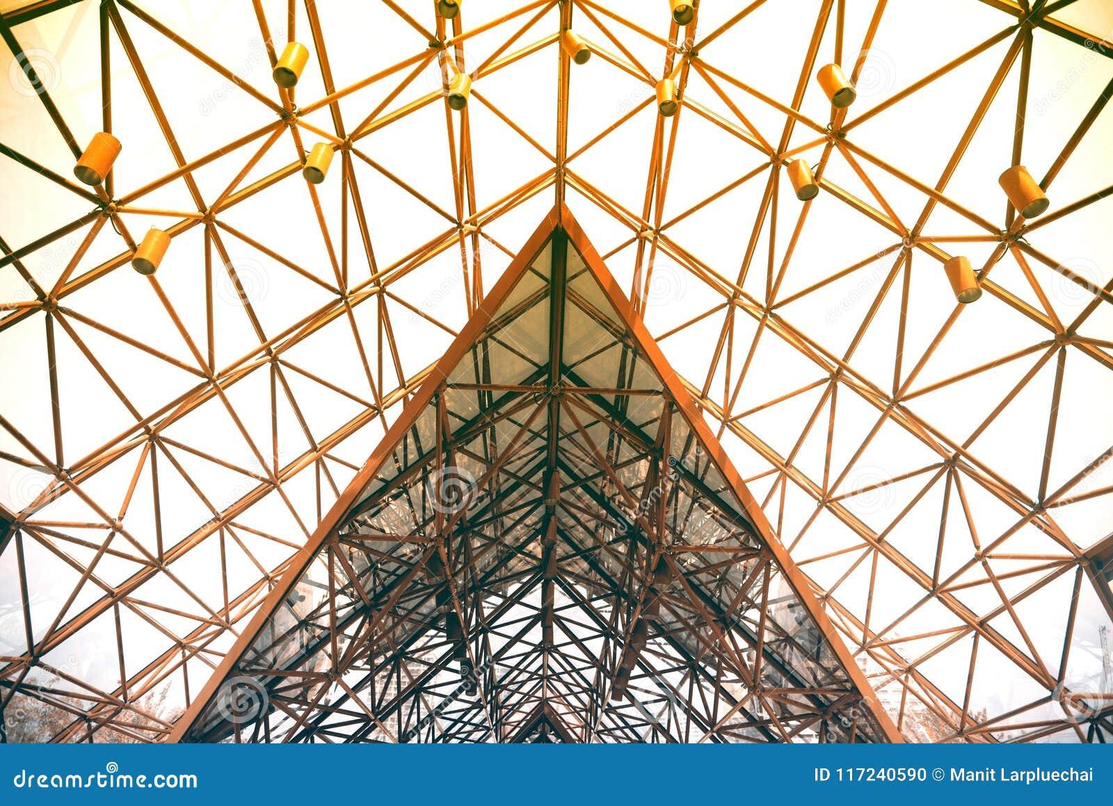 Metal el tejado del diseño moderno del detalle de la arquitectura de la estructura de acero