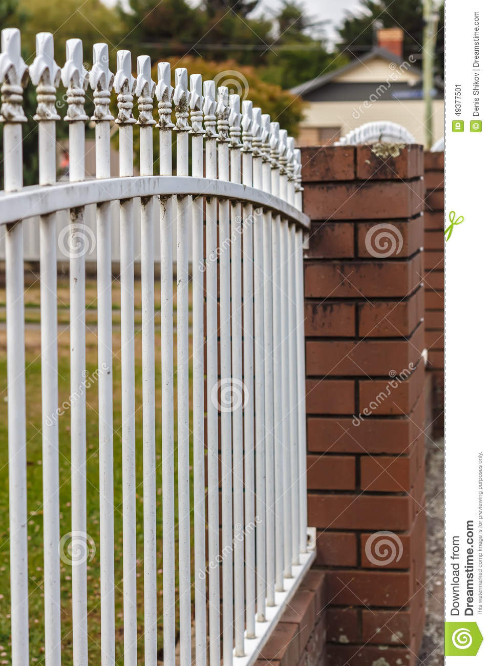 White Metal Pillars : Metal fence stock image of structured nature
