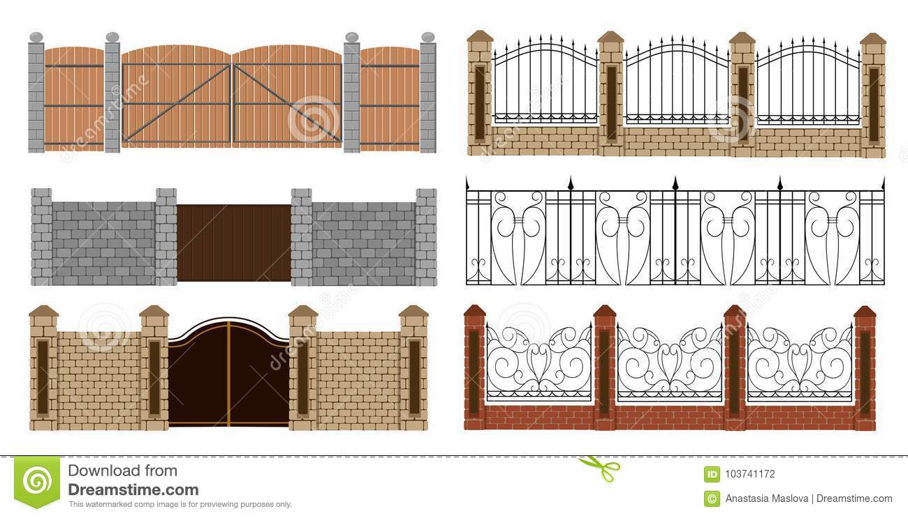 Metal Fences And Gates In Flat Style  Simple Illustration